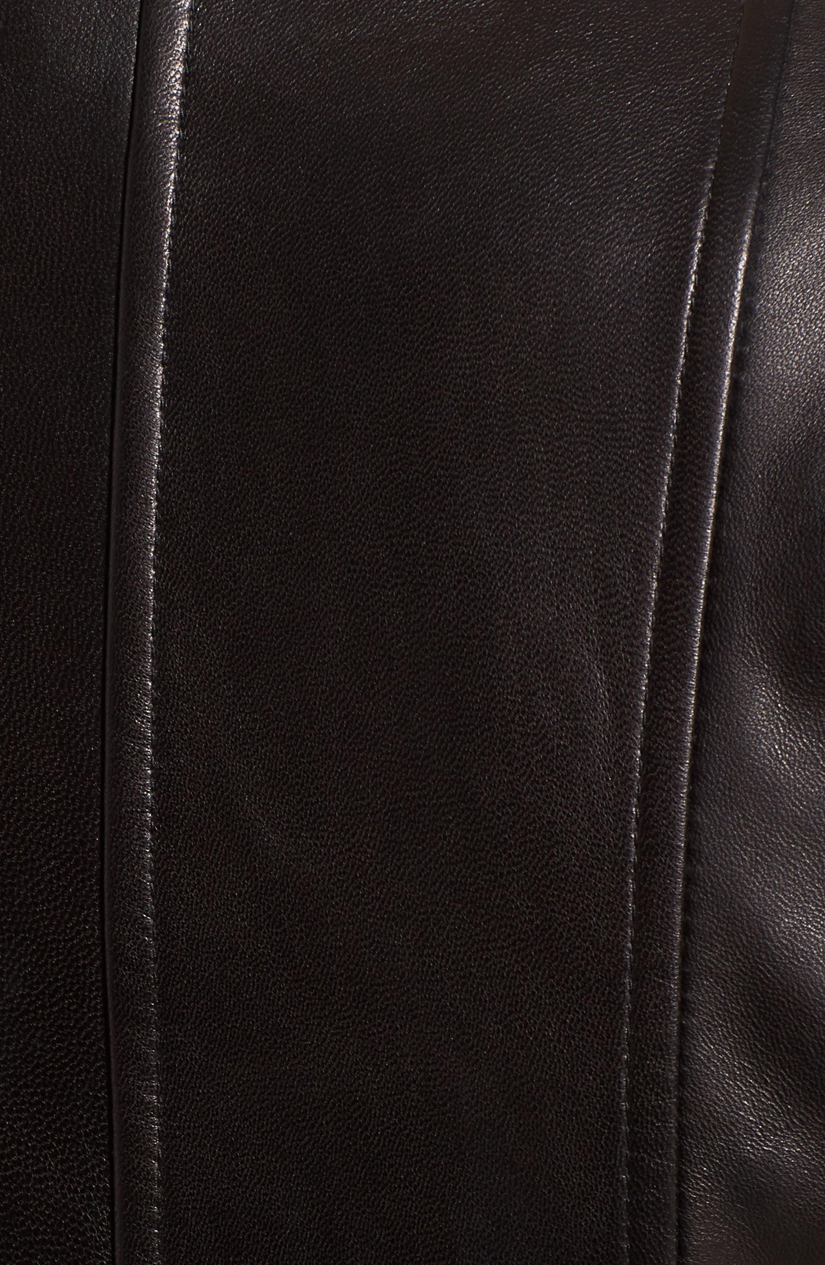 Seam Leather Jacket,                             Alternate thumbnail 6, color,                             Black