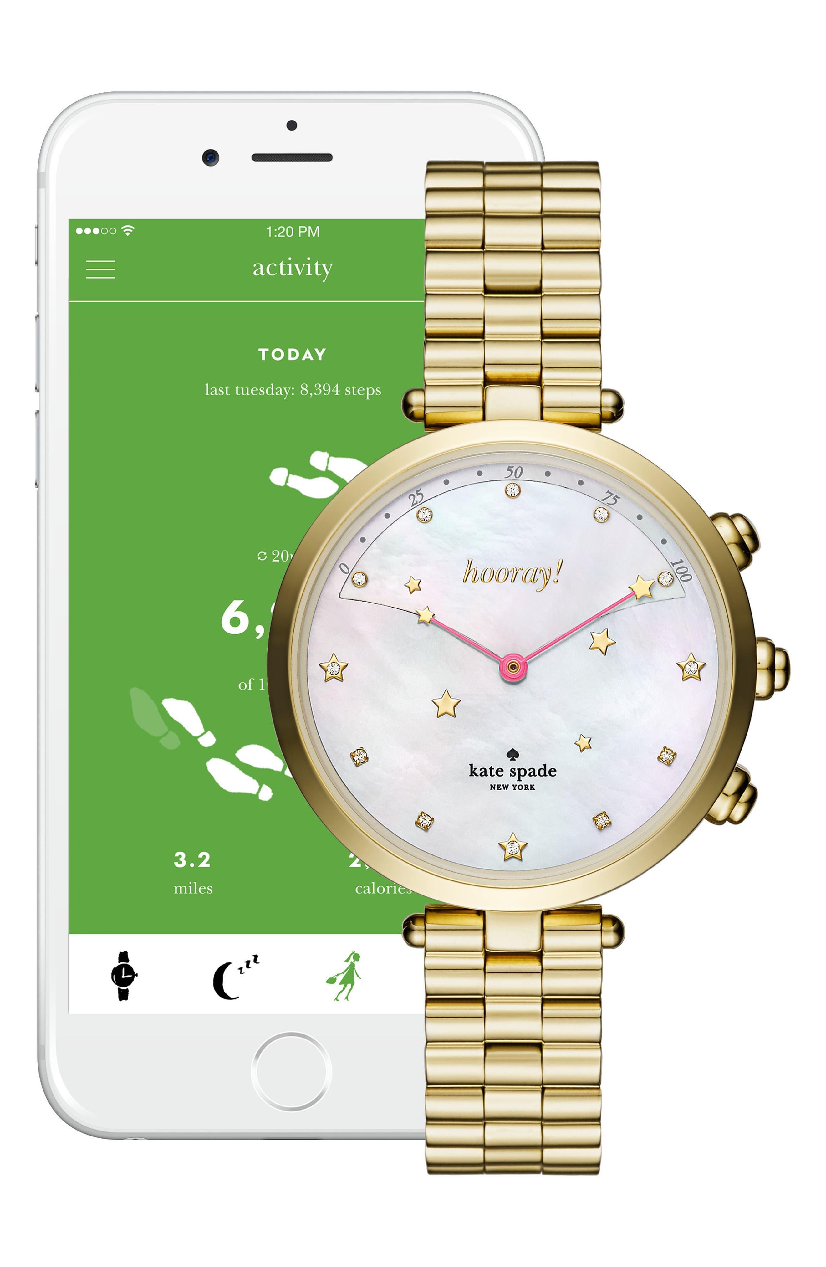 holland hybrid bracelet watch, 37mm,                             Alternate thumbnail 2, color,                             Gold/ Mop/ Gold