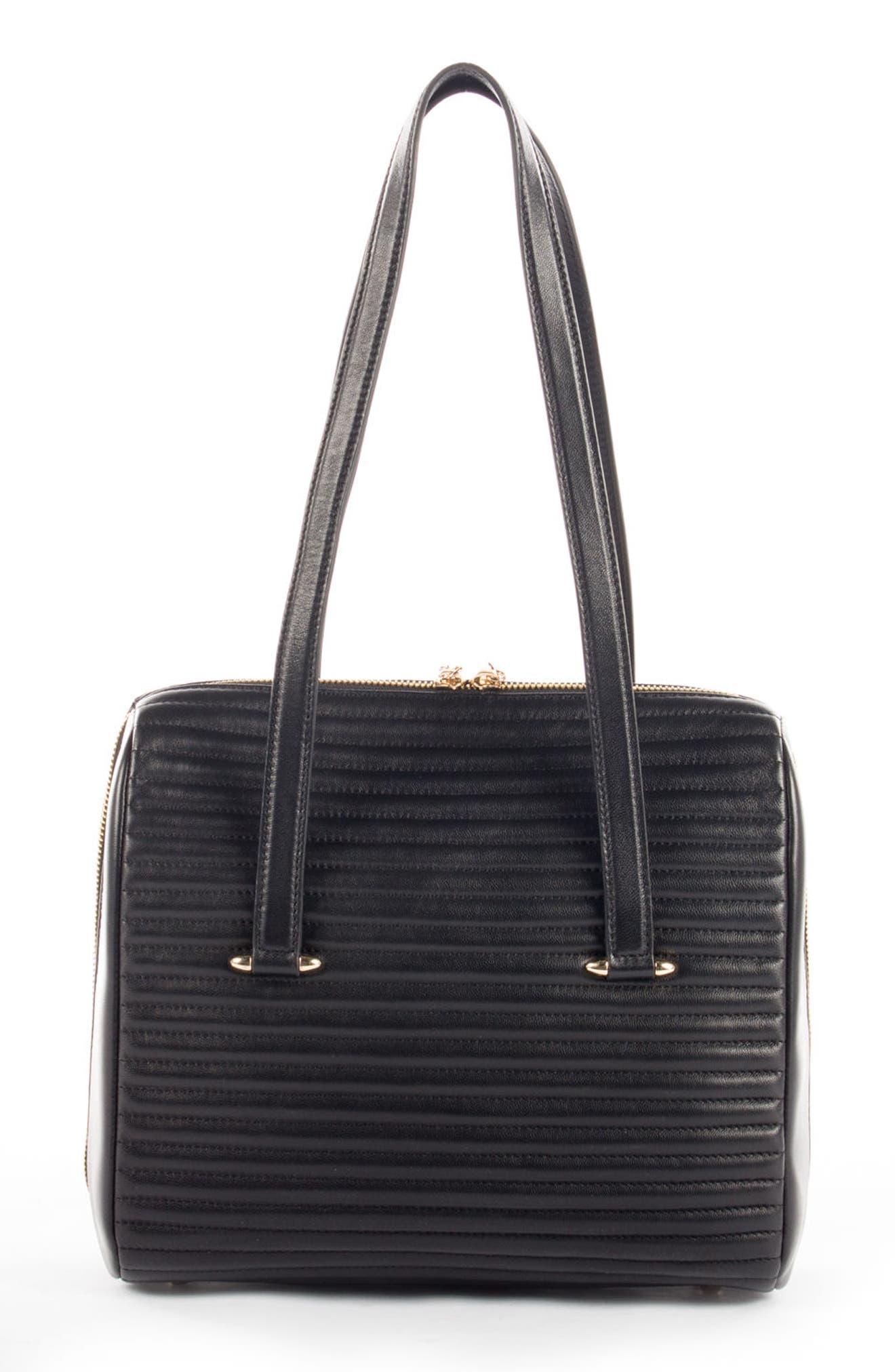 Céline Dion Vibrato Quilted Leather Satchel,                             Alternate thumbnail 2, color,                             Black