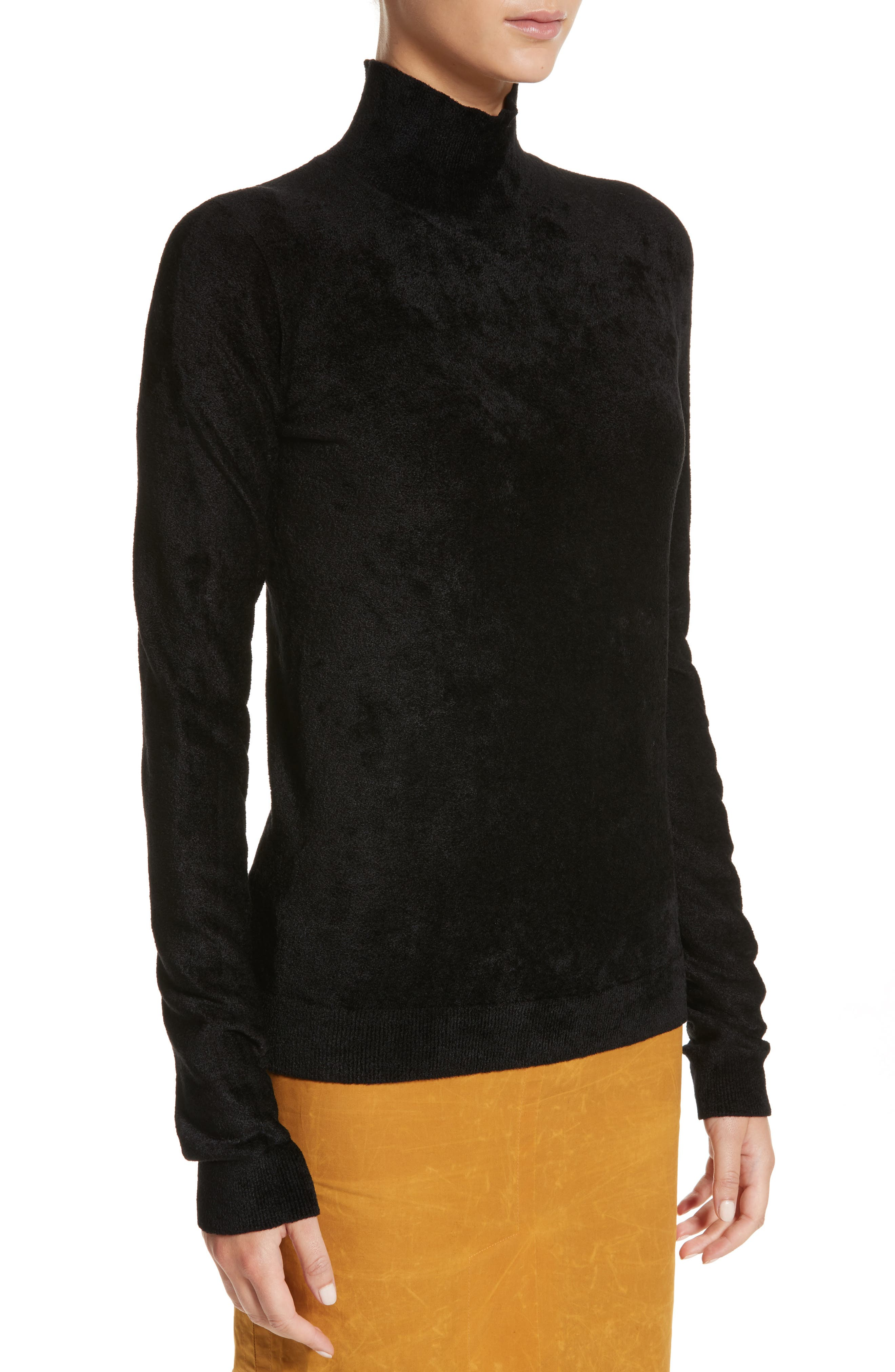 Chenille Turtleneck Sweater,                             Alternate thumbnail 4, color,                             00N99 Black