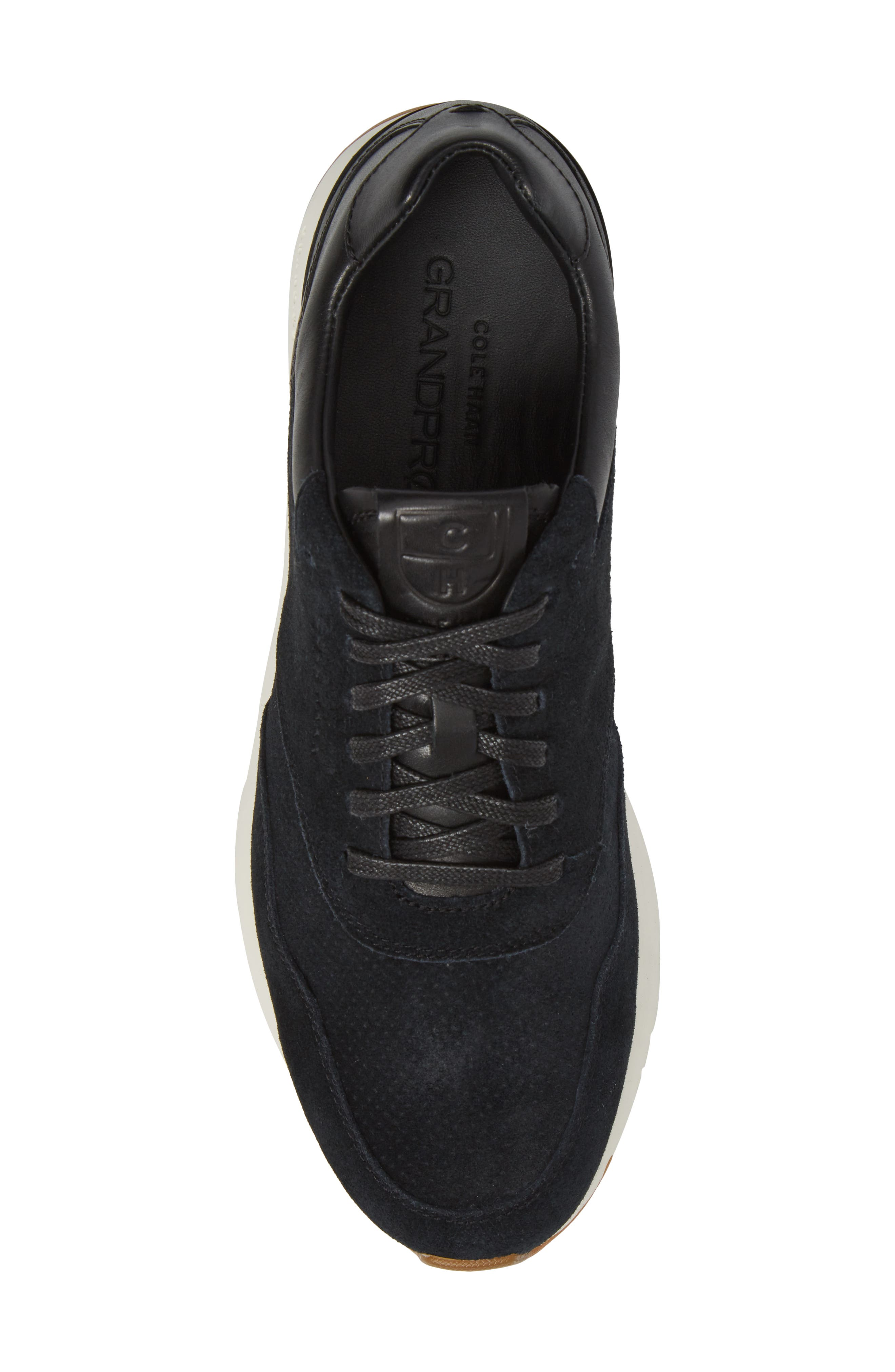 GrandPro Runner Sneaker,                             Alternate thumbnail 5, color,                             Black Leather