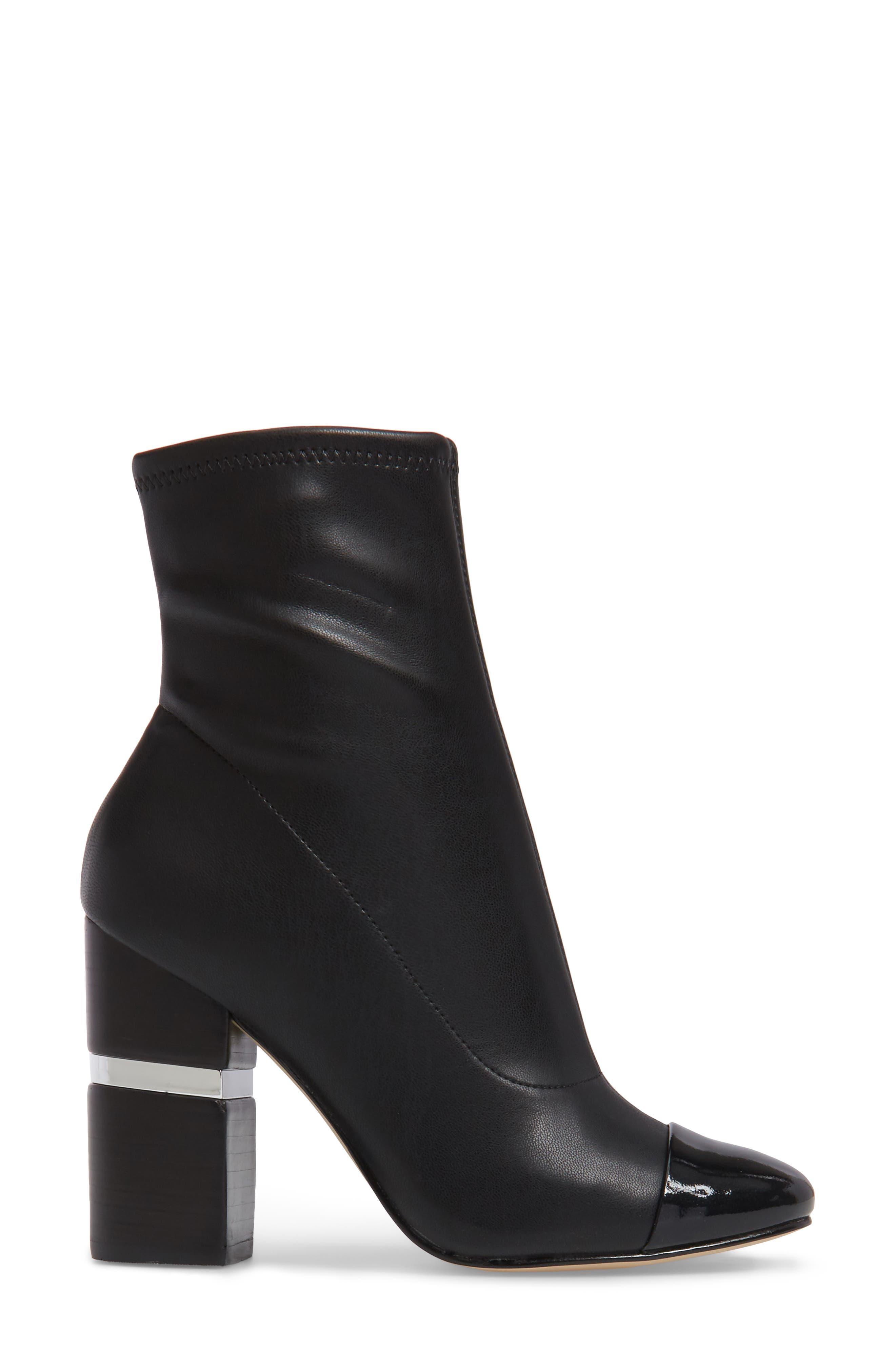 Prisa Cap Toe Bootie,                             Alternate thumbnail 3, color,                             Black Faux Leather