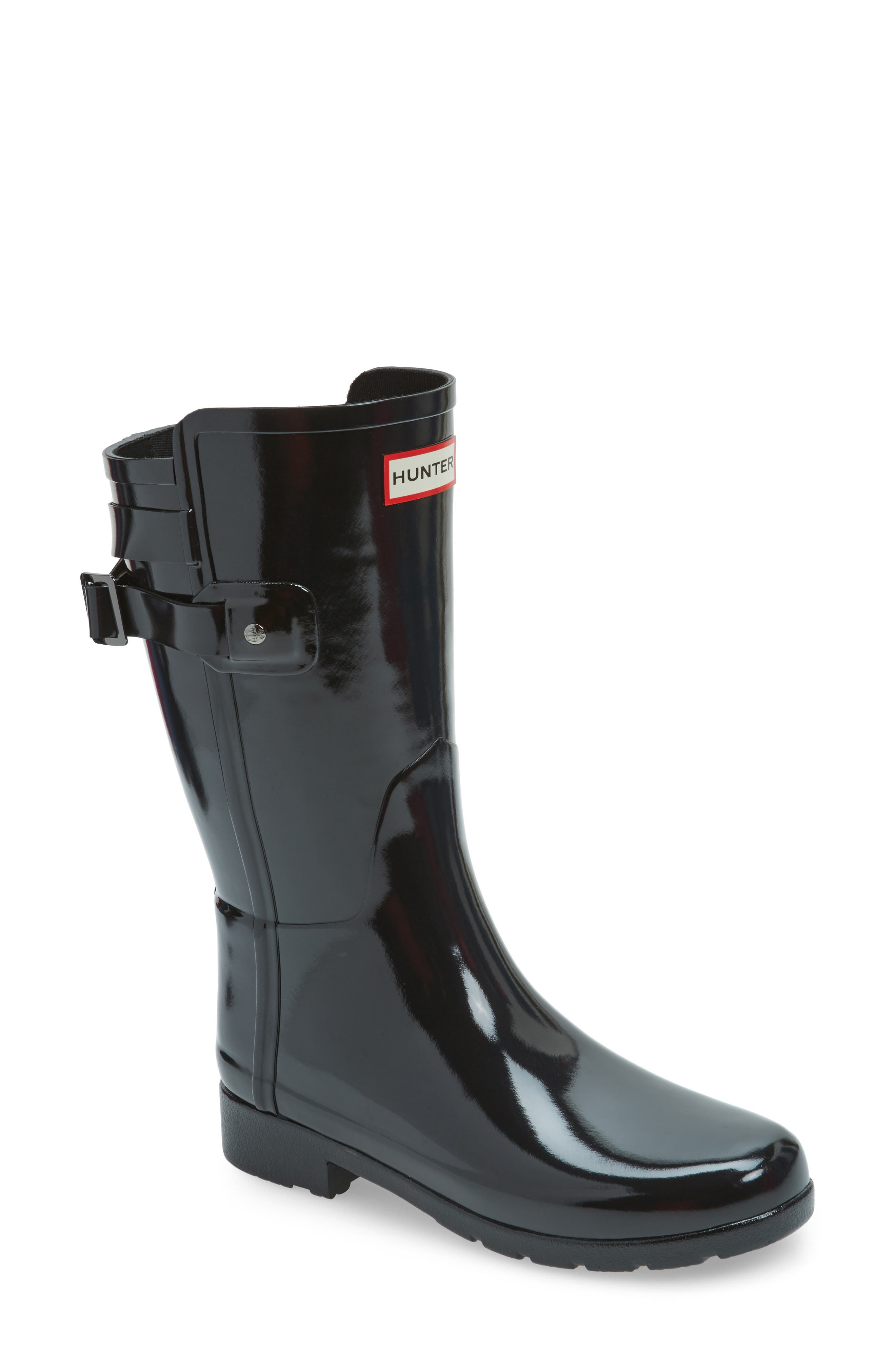 Original Refined Back Strap Rain Boot,                             Main thumbnail 1, color,                             Black