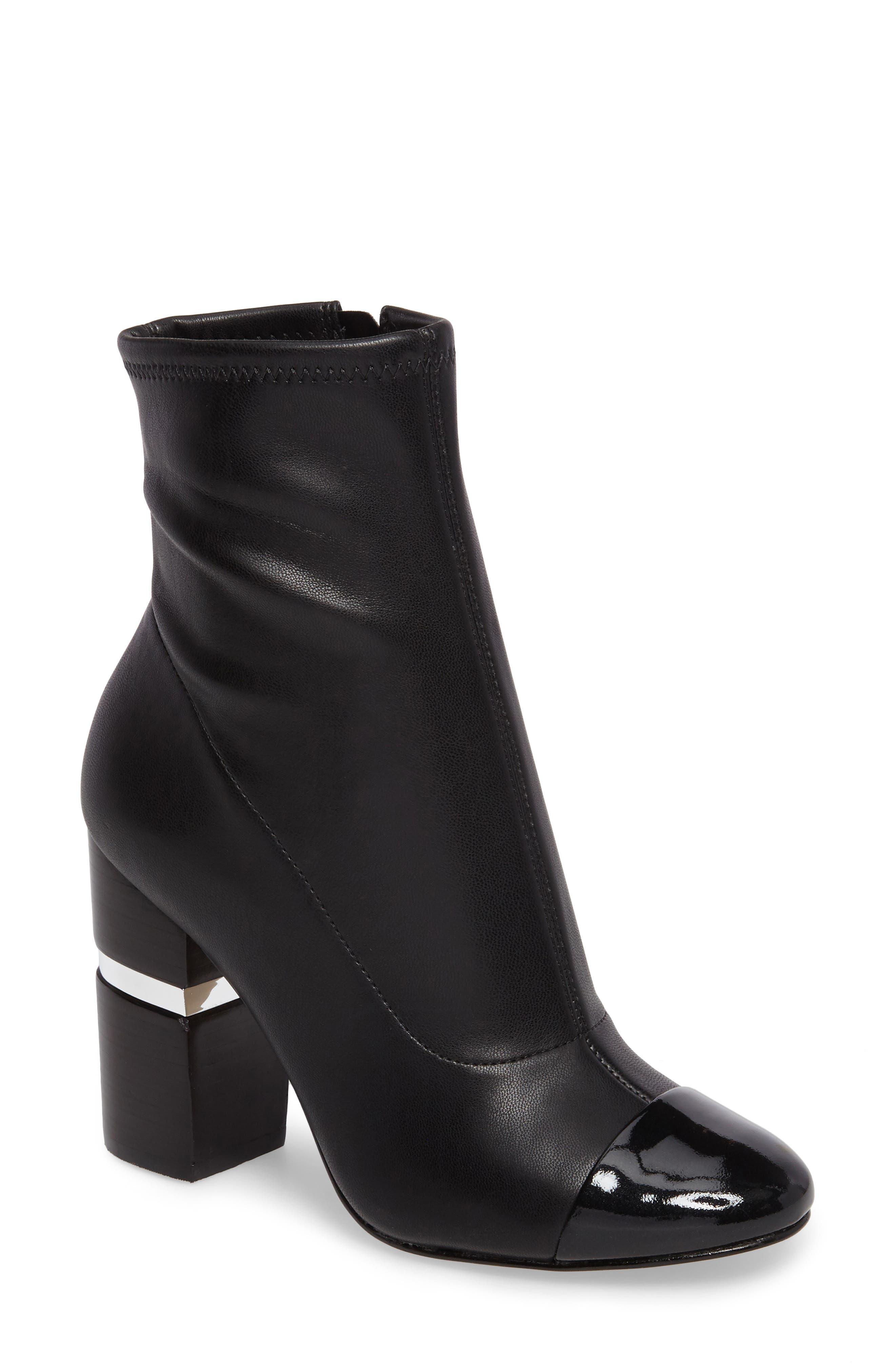 Prisa Cap Toe Bootie,                         Main,                         color, Black Faux Leather