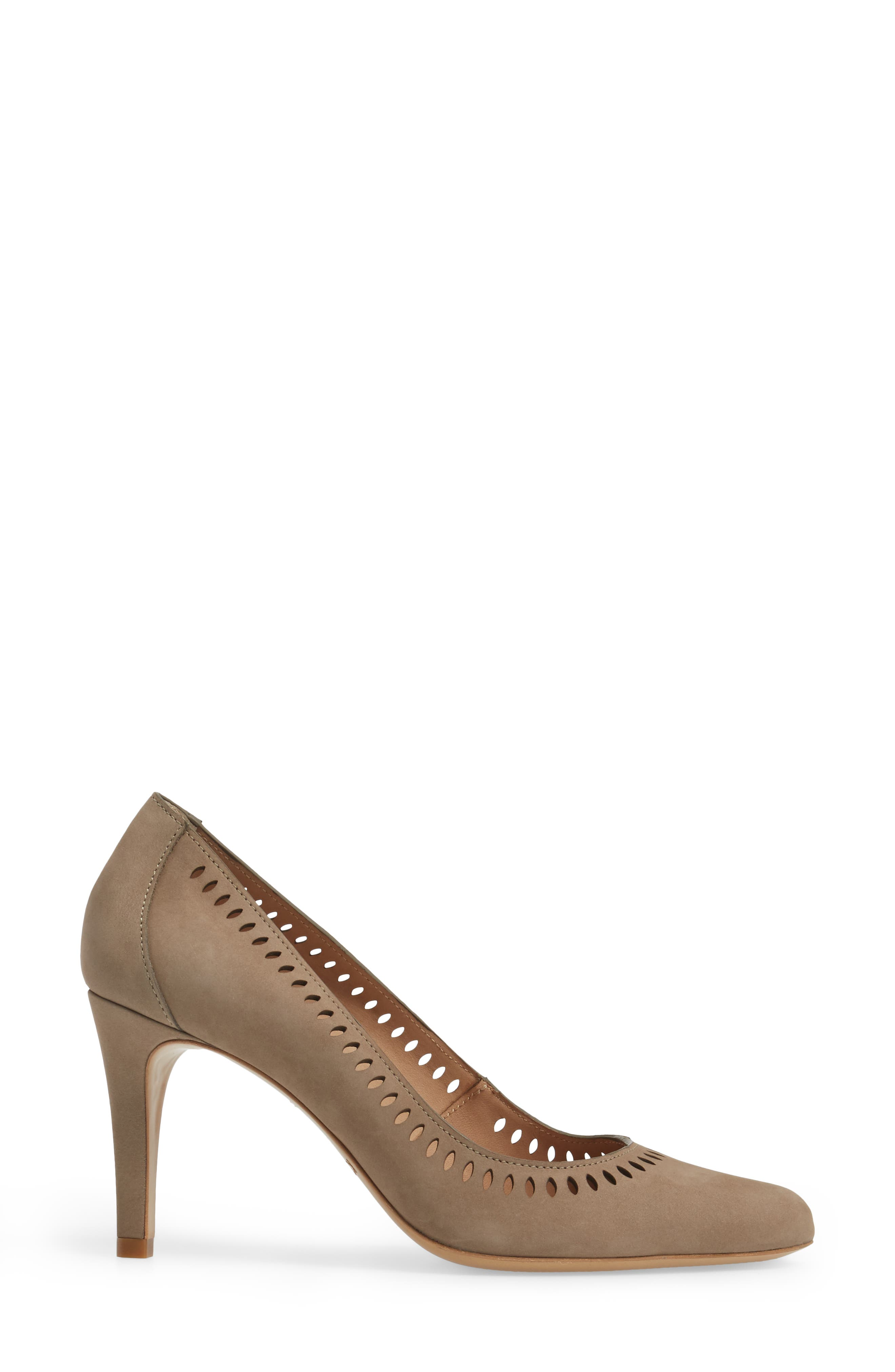 Beleza Perforated Pump,                             Alternate thumbnail 3, color,                             Taupe Nubuck Leather
