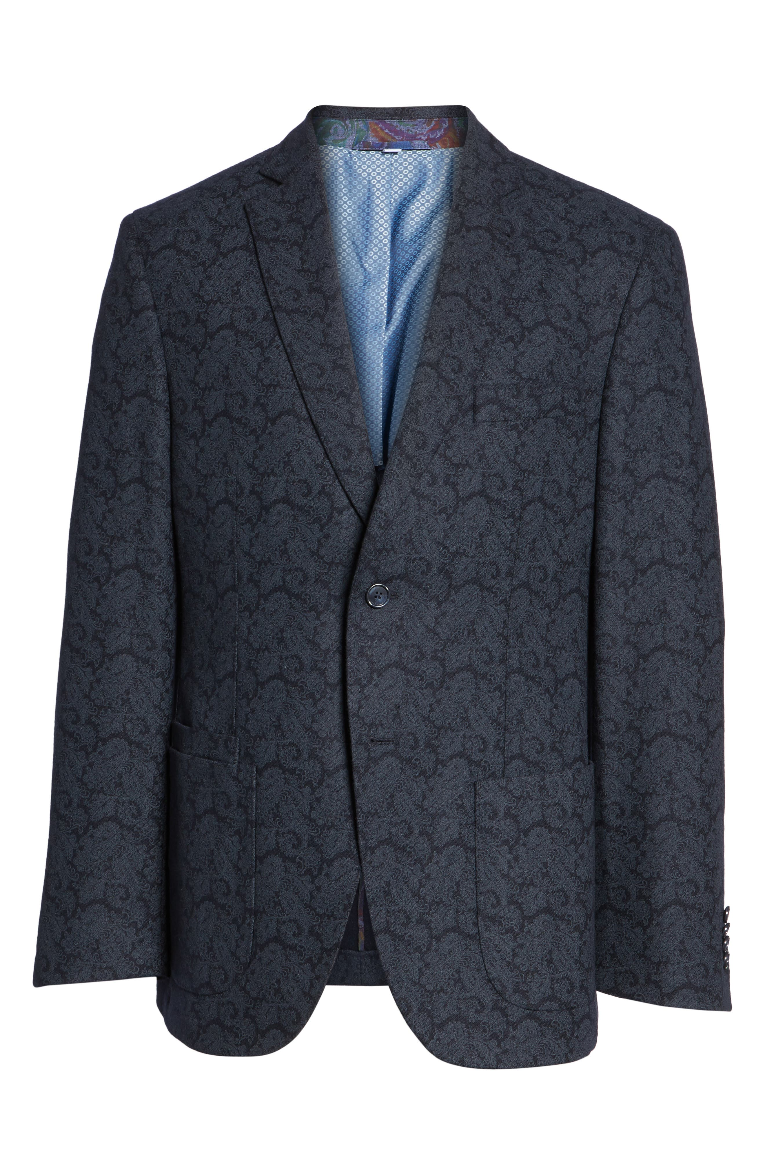 Alternate Image 6  - JKT New York Trim Fit Paisley Wool Blend Sport Coat