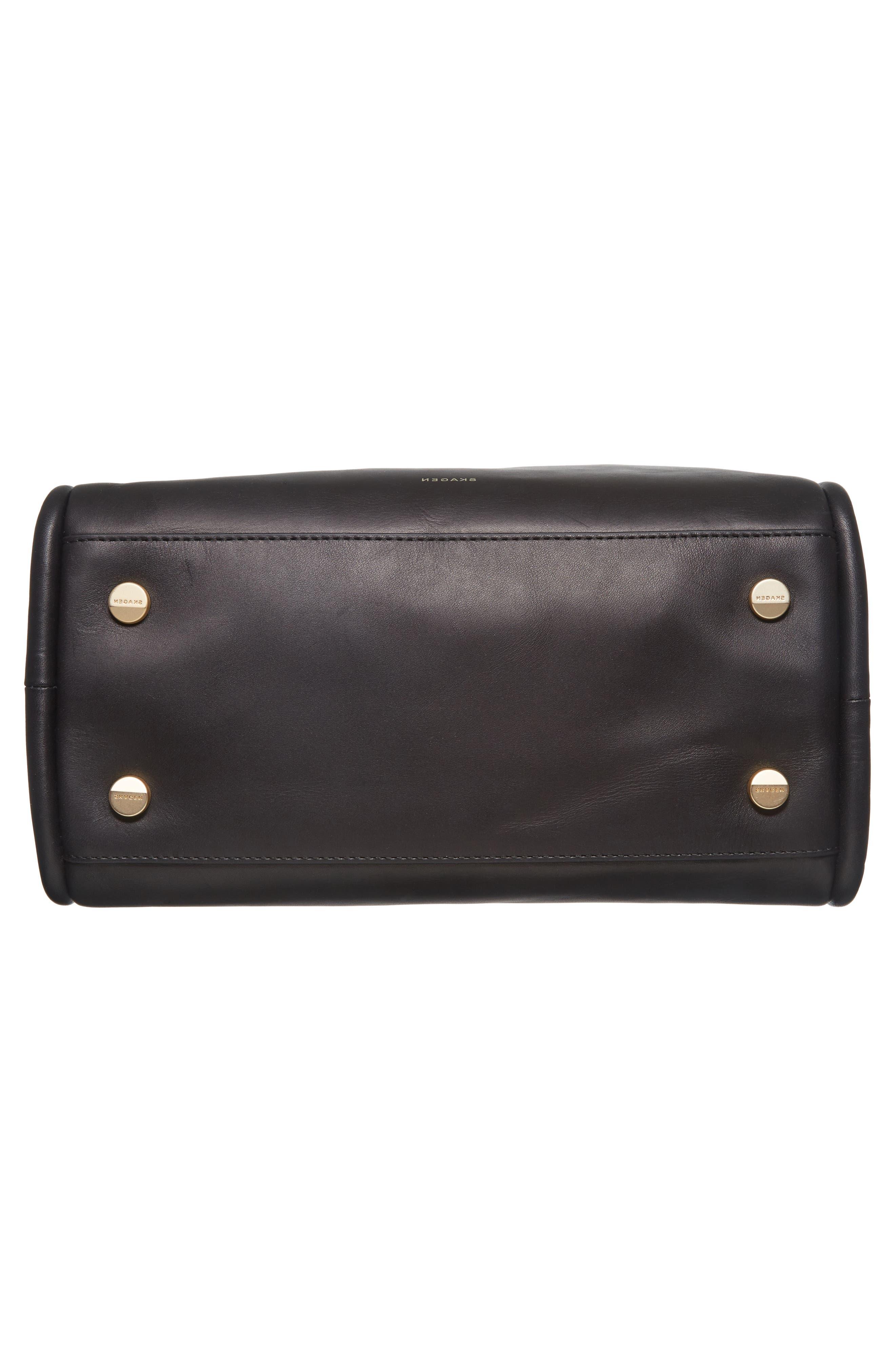 Karalie Leather Shoulder Bag,                             Alternate thumbnail 4, color,                             Black