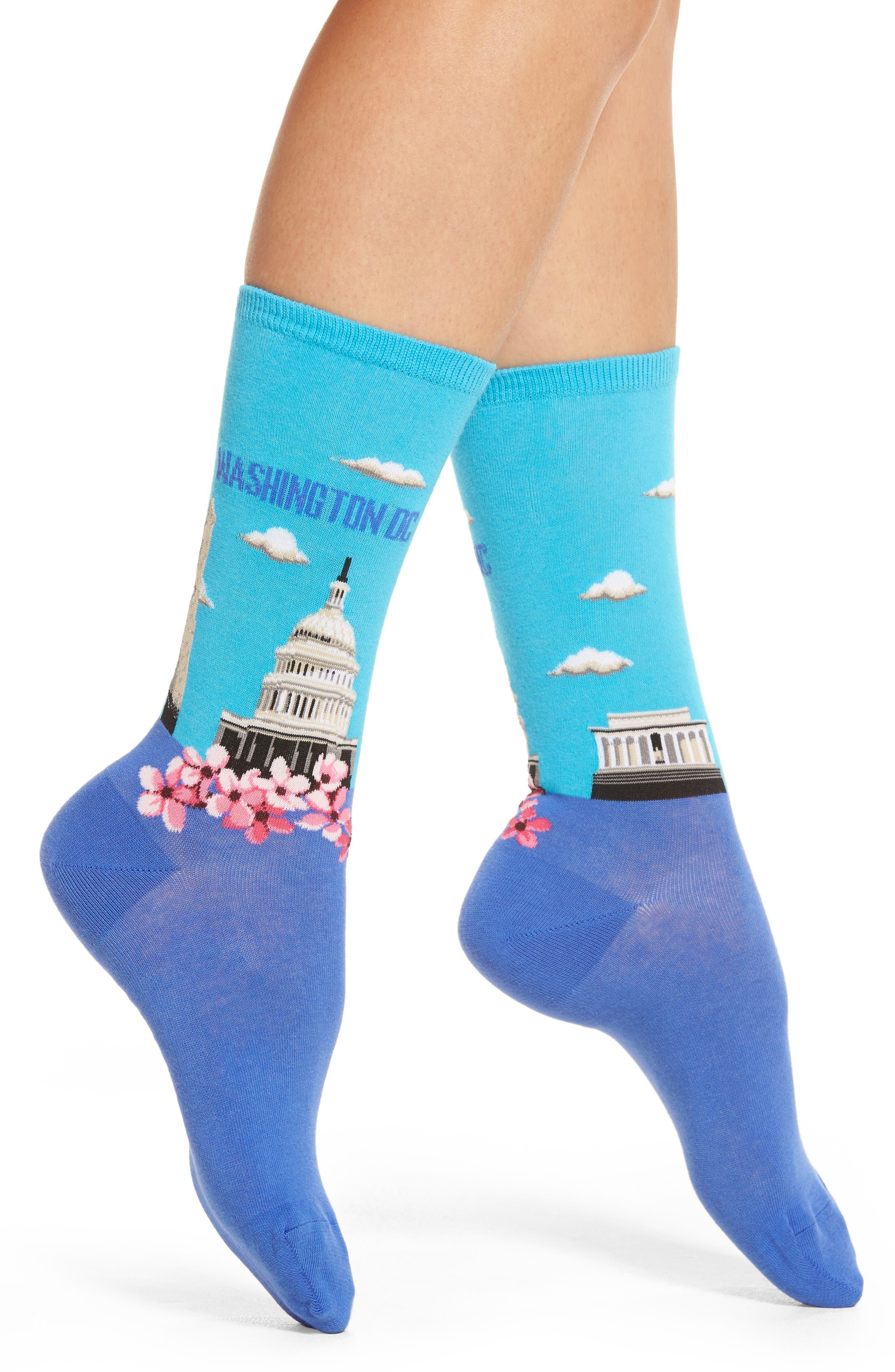 Washington DC Crew Socks,                         Main,                         color, Light Blue