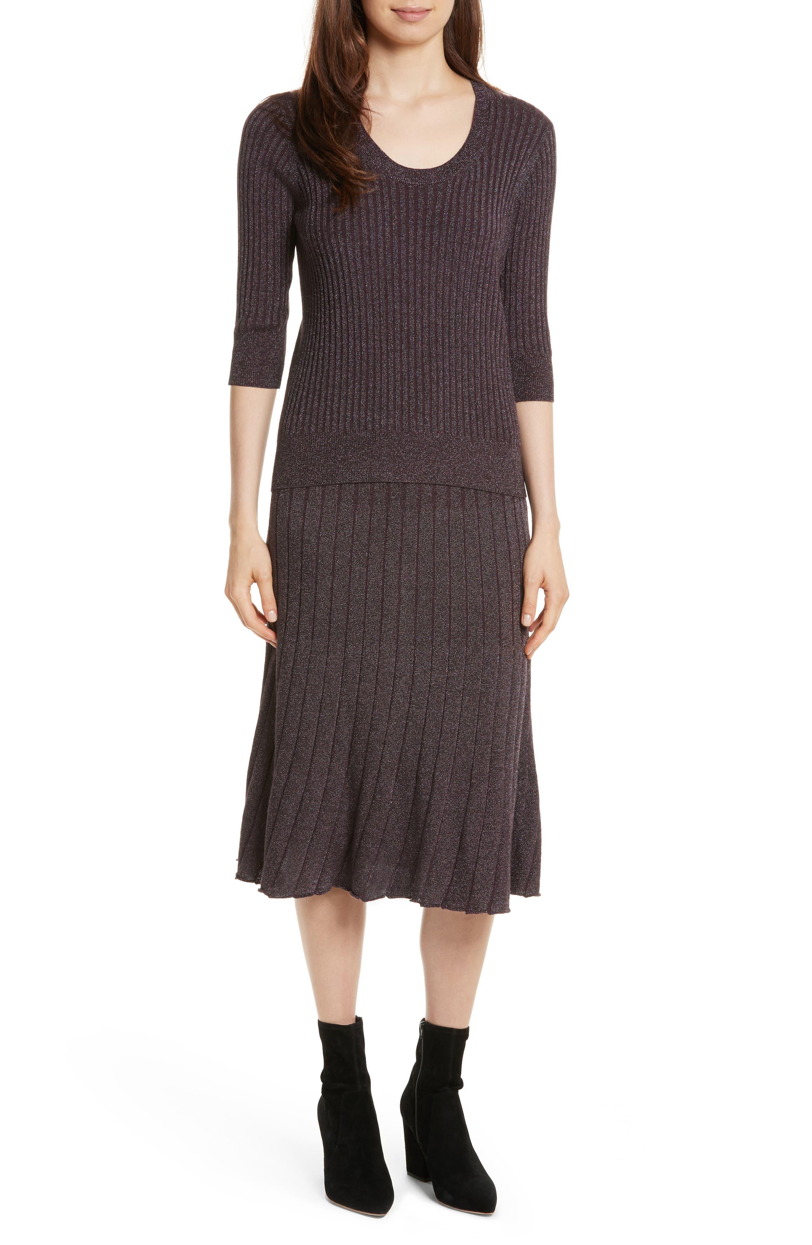 Metallic Ribbed Knit Skirt,                             Alternate thumbnail 6, color,                             Merlot