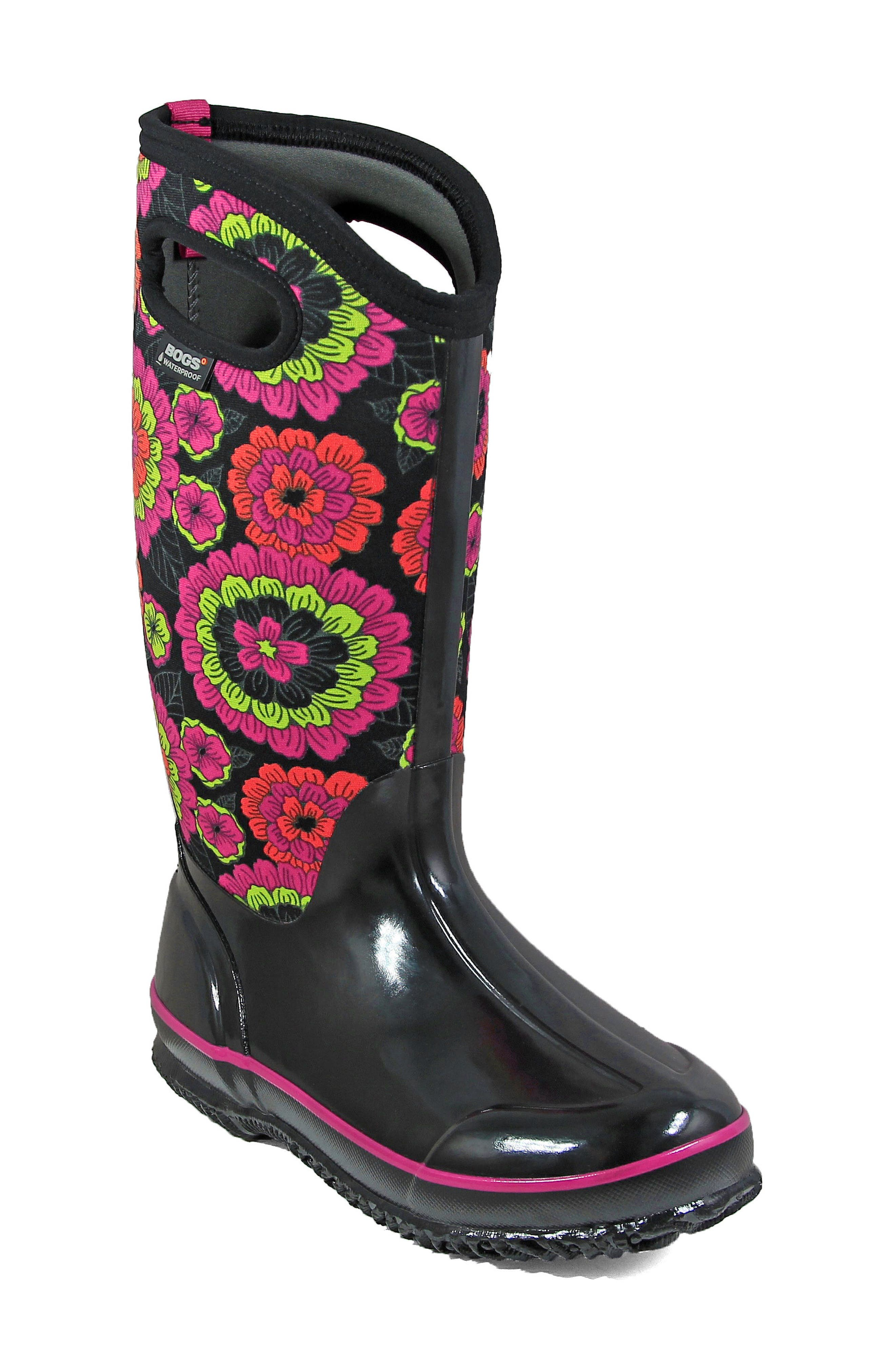 Classic Pansies Waterproof Insulated Boot,                             Main thumbnail 1, color,                             Black Multi Fabric