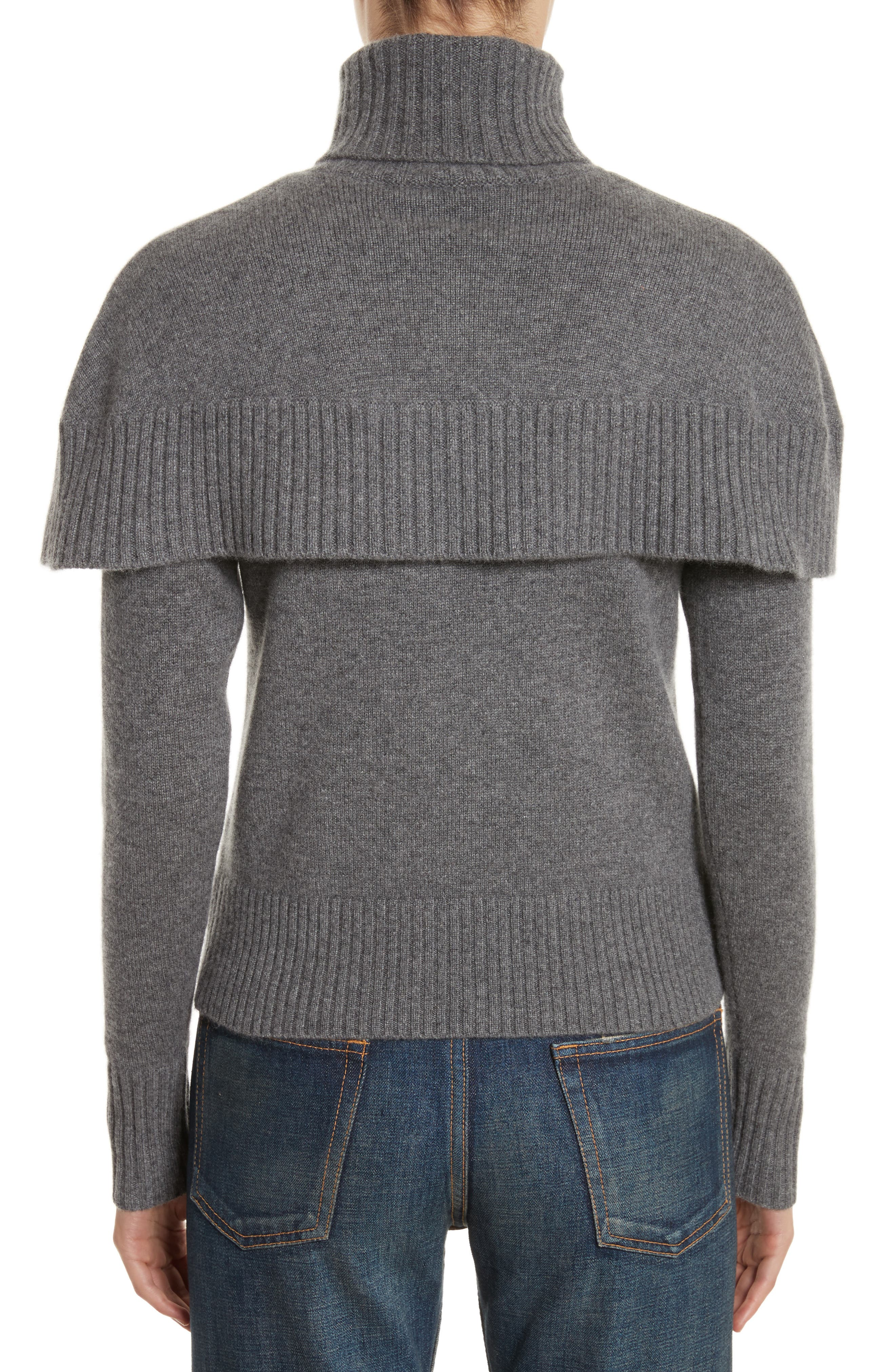 Cashmere Mini Cape Turtleneck Sweater,                             Alternate thumbnail 2, color,                             Charcoal Black