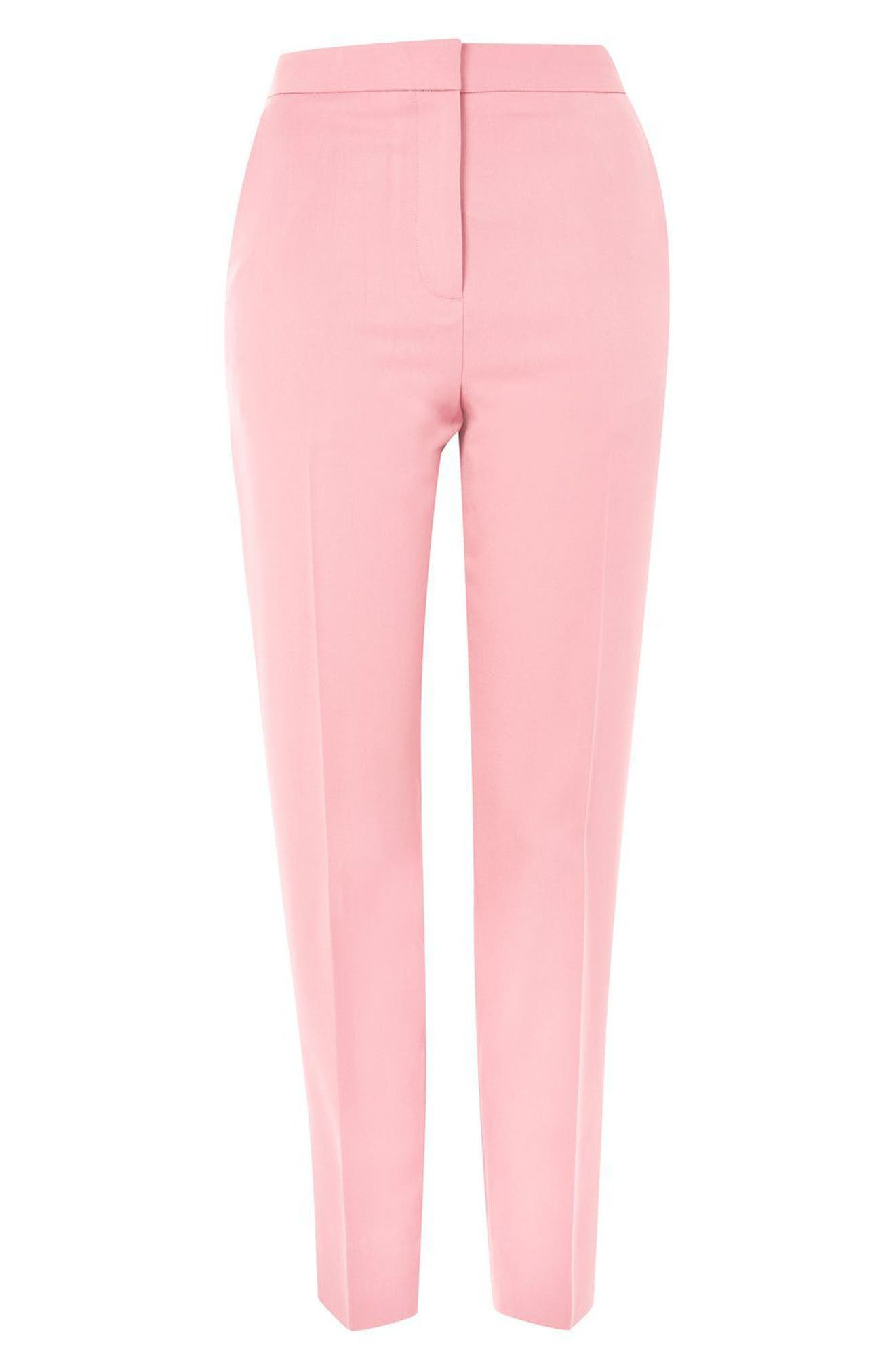 Tailored Cigarette Trousers,                             Alternate thumbnail 4, color,                             Pink