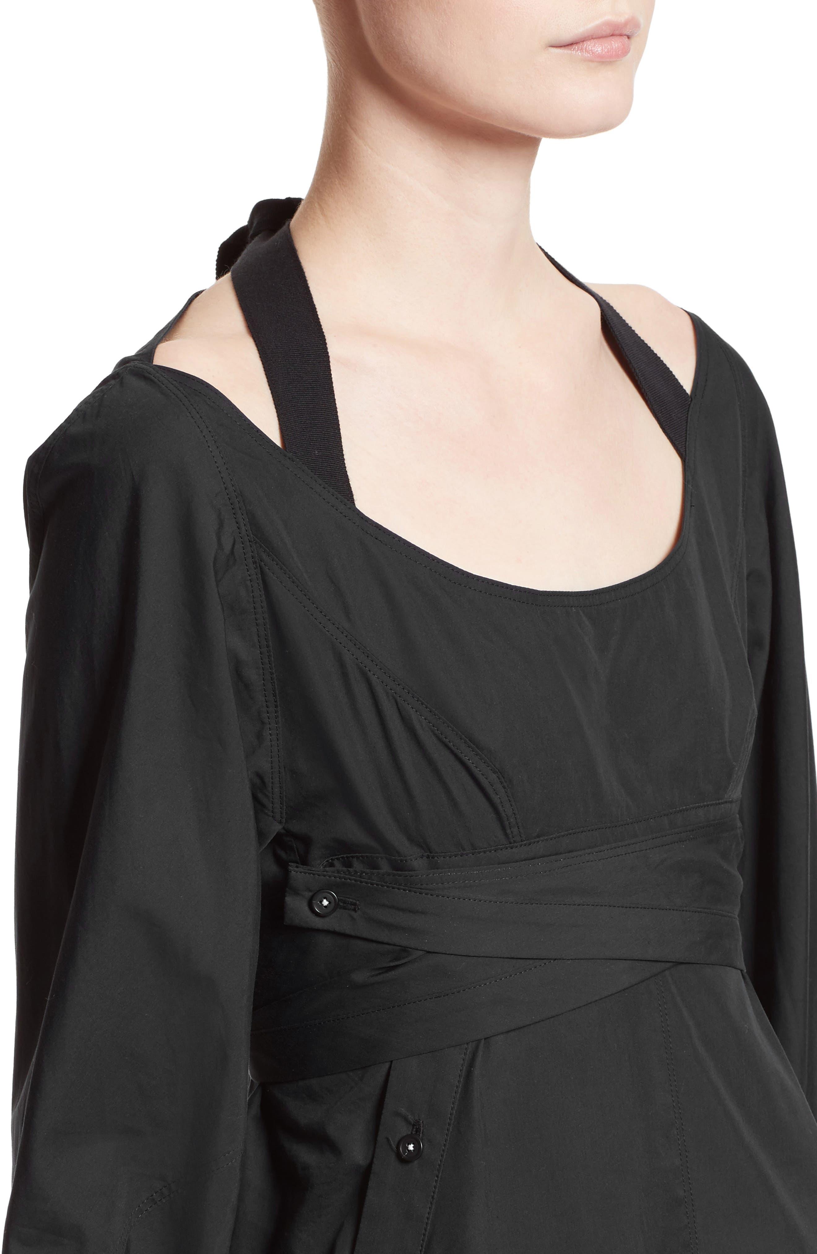 Cotton Poplin Wrap Dress,                             Alternate thumbnail 5, color,                             Black