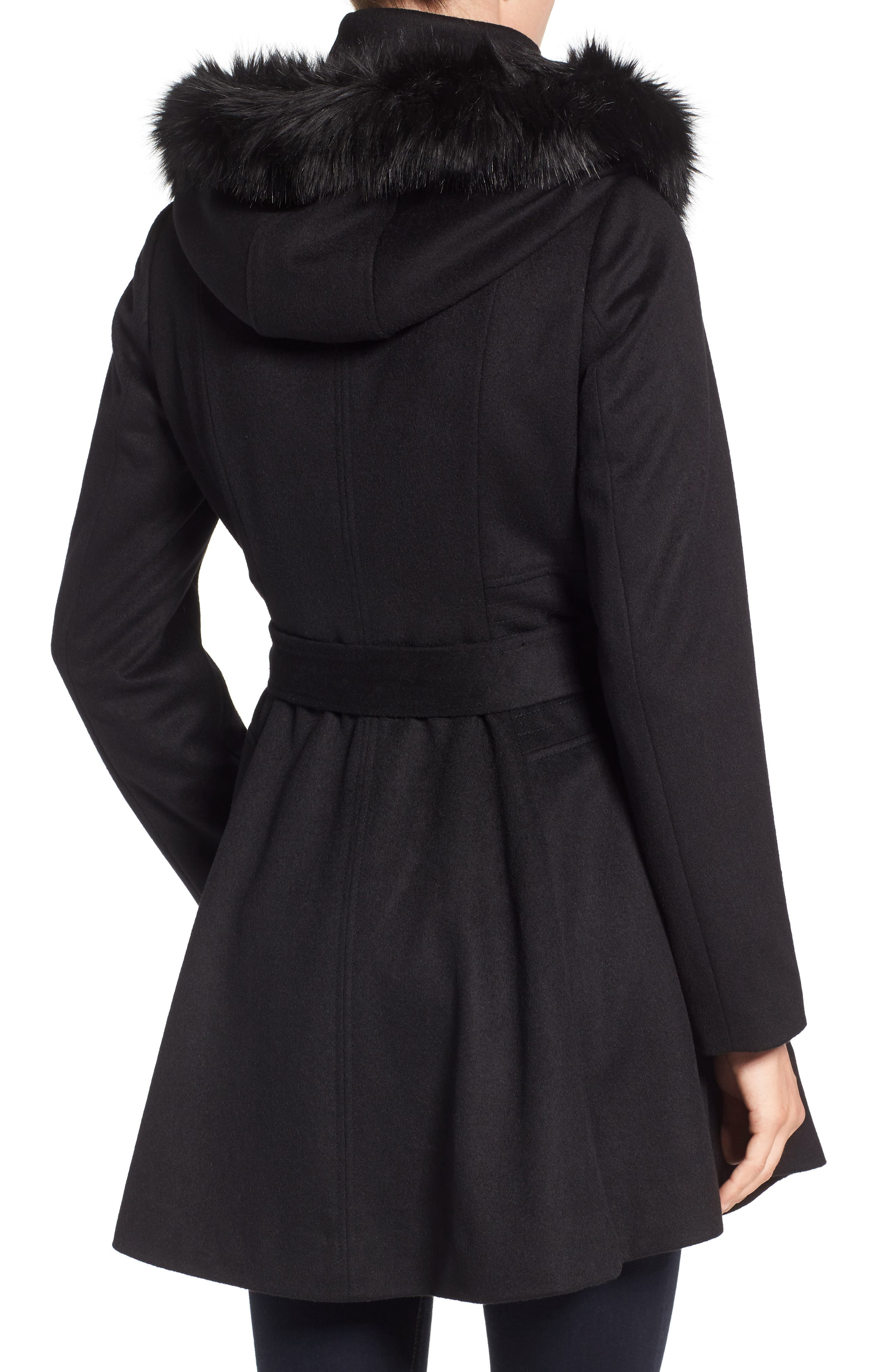 Belted Fit & Flare Coat with Faux Fur Trim,                             Alternate thumbnail 2, color,                             Black