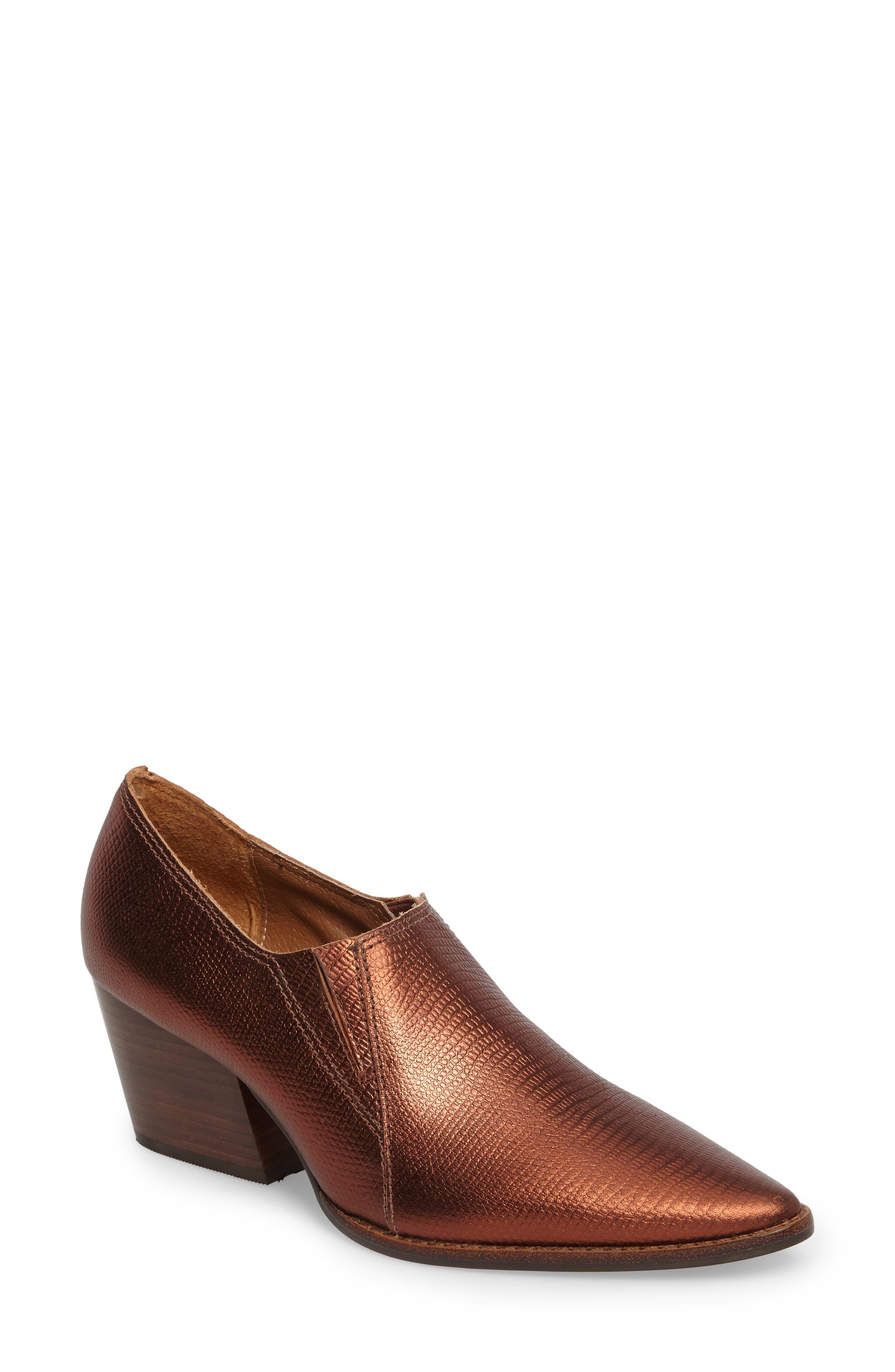 Madeline Block Heel Bootie,                             Main thumbnail 1, color,                             Copper Leather