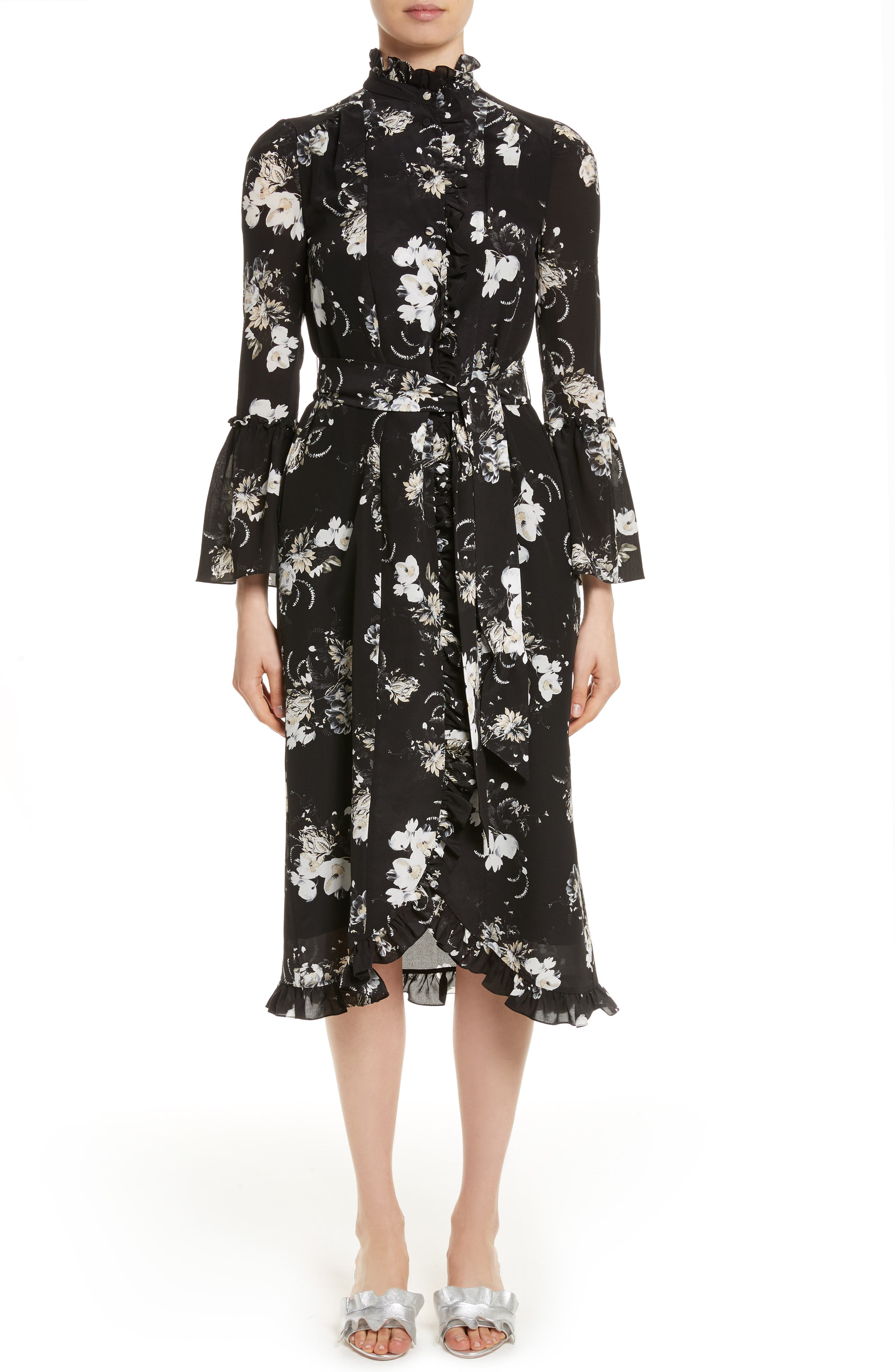 Erdem Floral Silk Ruffle Dress