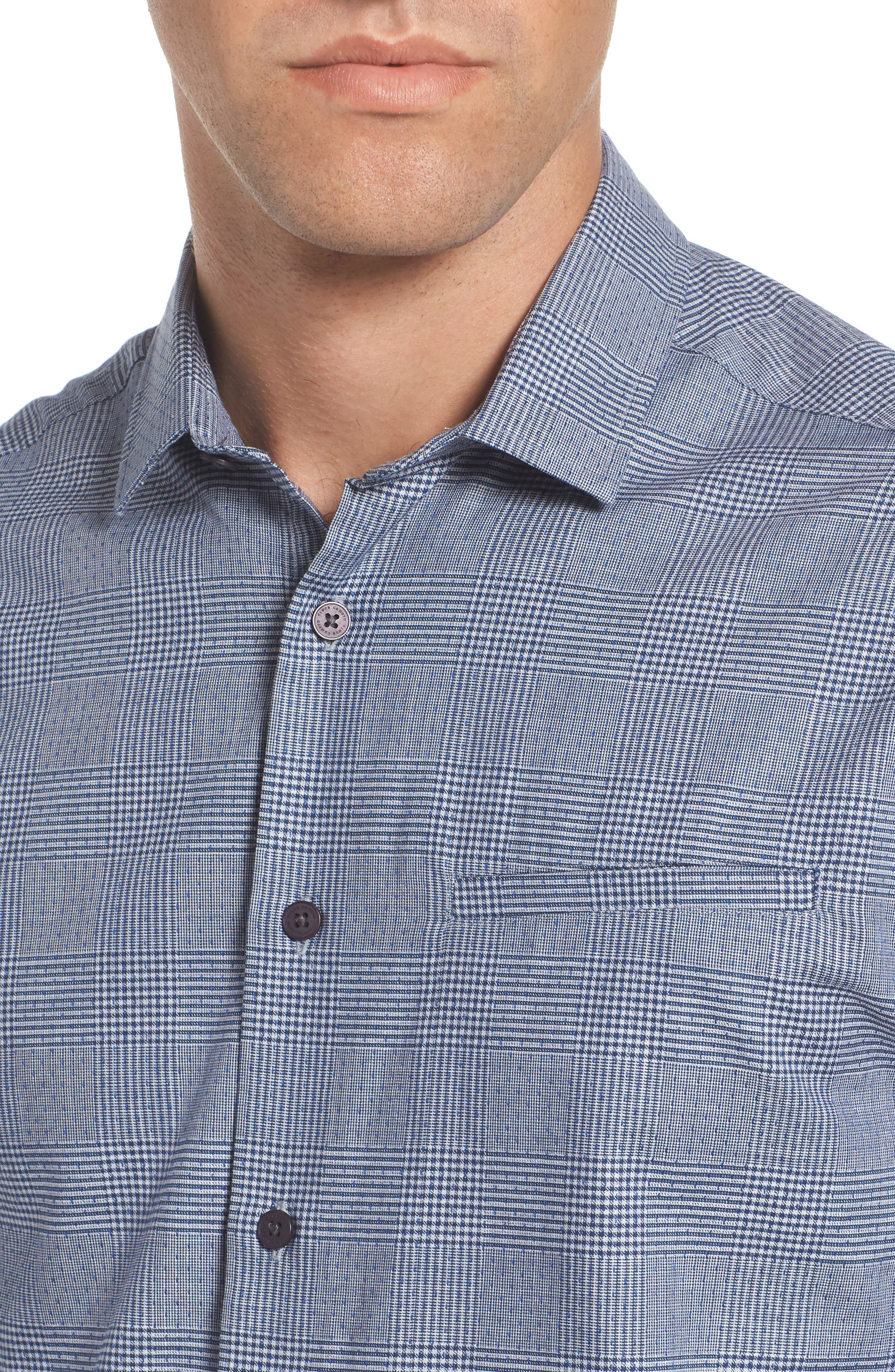 Hacking Slim Fit Glen Plaid Sport Shirt,                             Alternate thumbnail 4, color,                             Navy Check With Blue Dobby