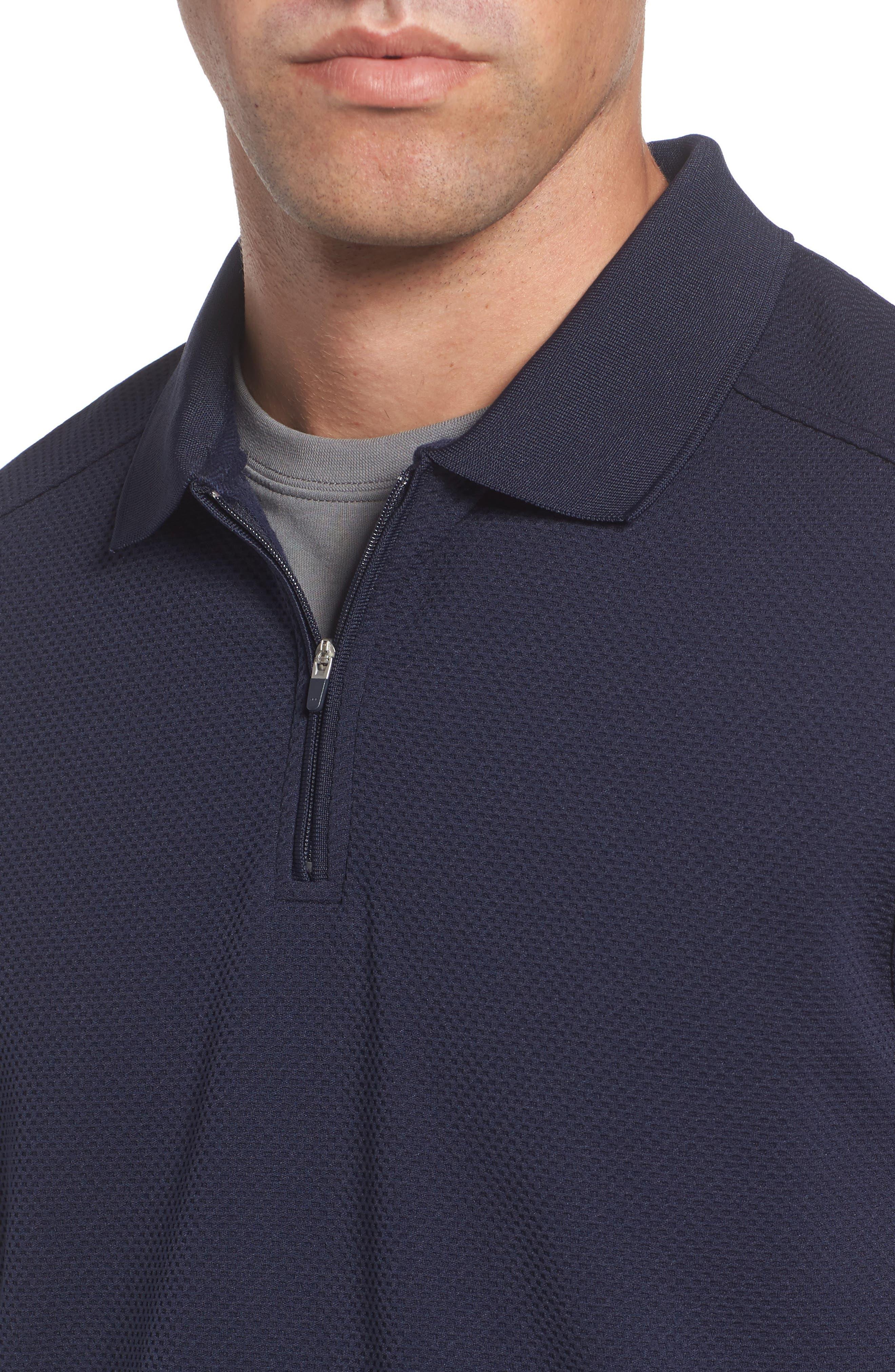 Slim Fit Quarter Zip Mesh Polo,                             Alternate thumbnail 4, color,                             Navy