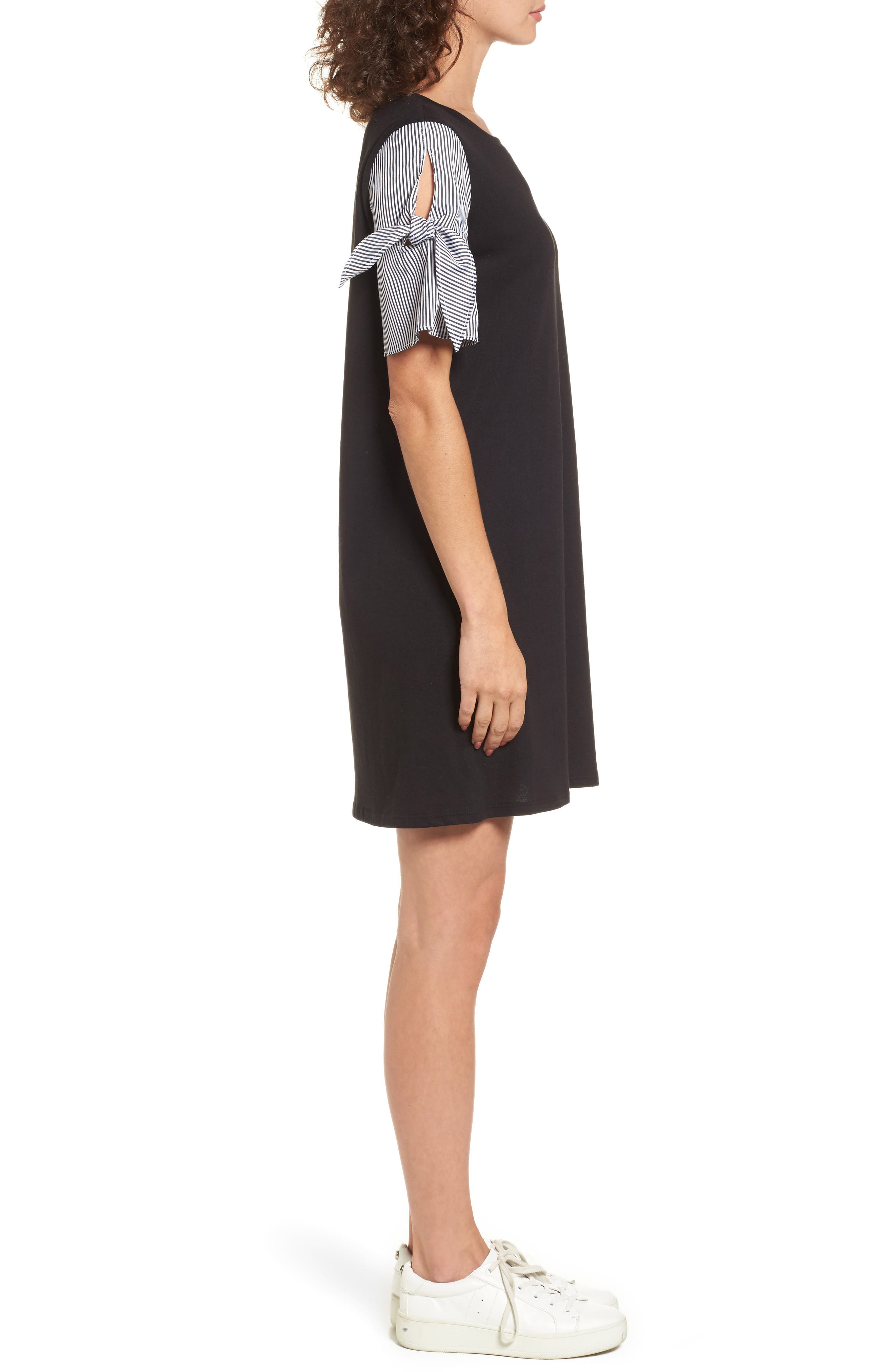 Poplin Sleeve Knit Dress,                             Alternate thumbnail 3, color,                             Black