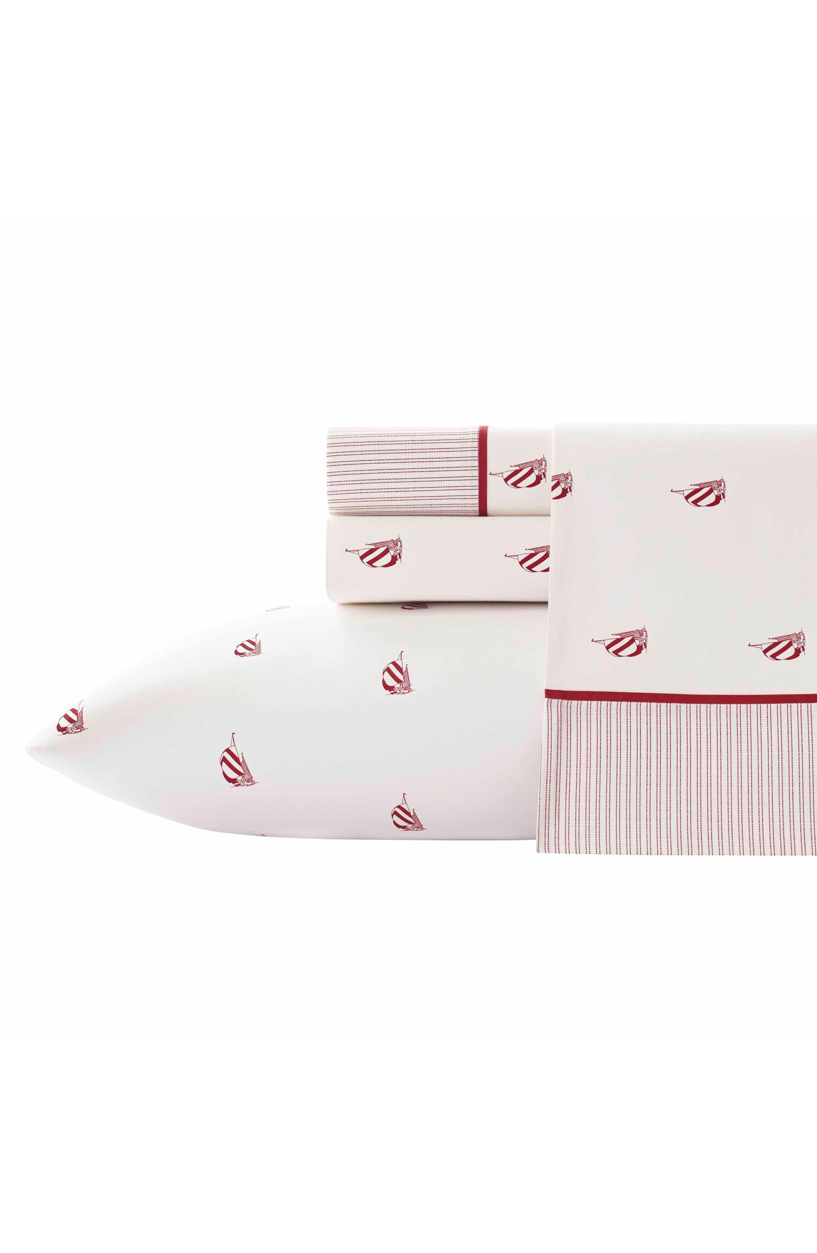 Heritage Spinnaker Cotton Sheet Set,                         Main,                         color, Red