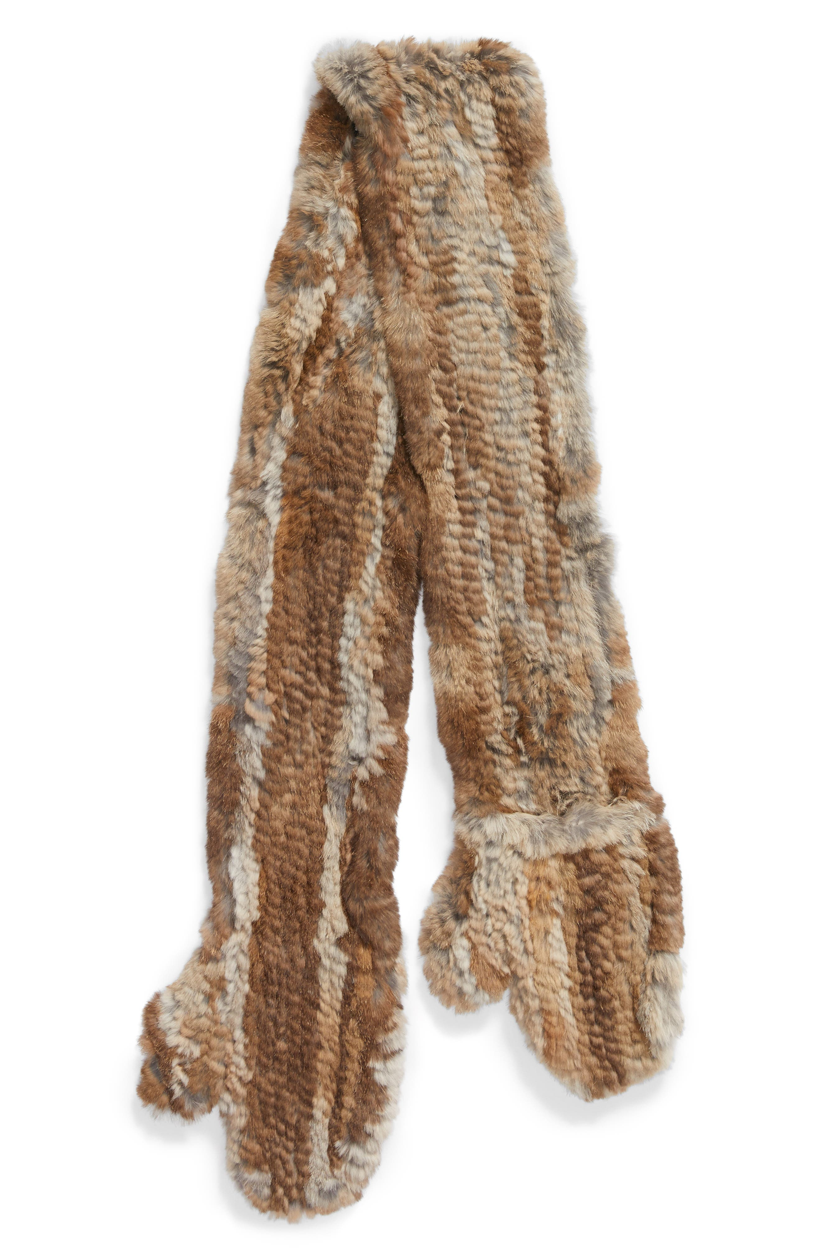 Genuine Rabbit Fur Scarf with Built-in Mittens,                             Alternate thumbnail 2, color,                             Natural