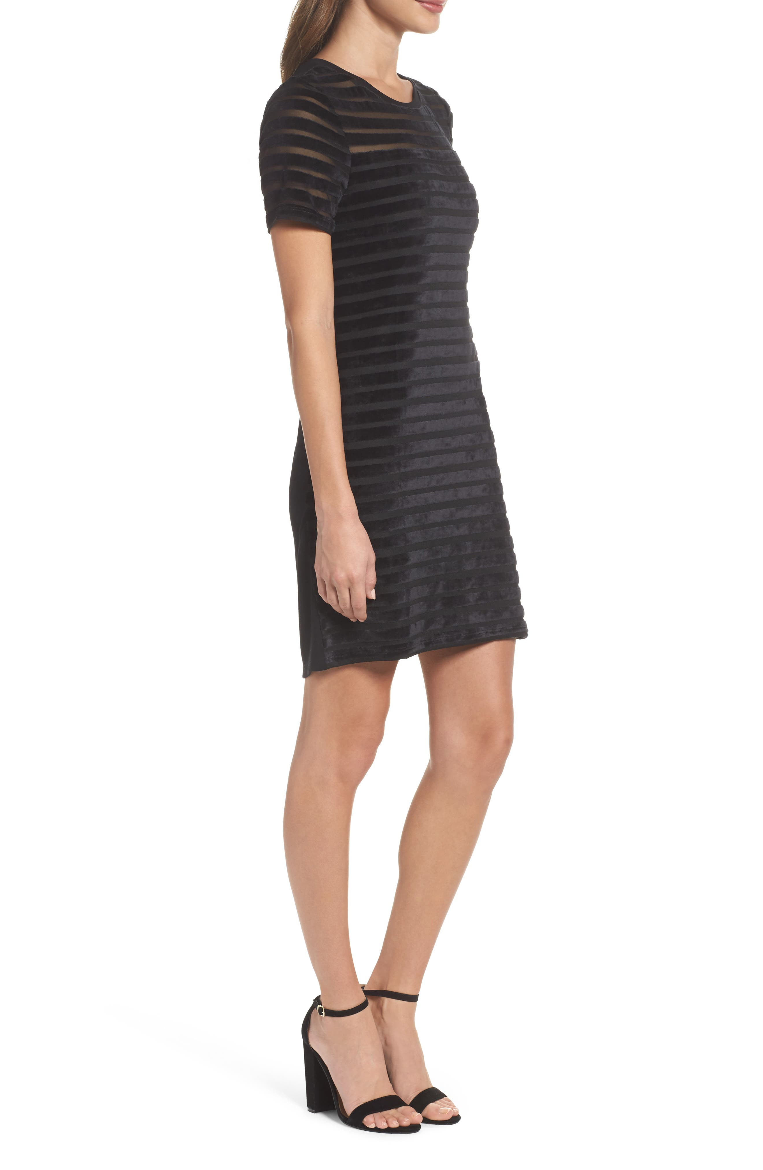 Velvet Stripe Shift Dress,                             Alternate thumbnail 3, color,                             Black