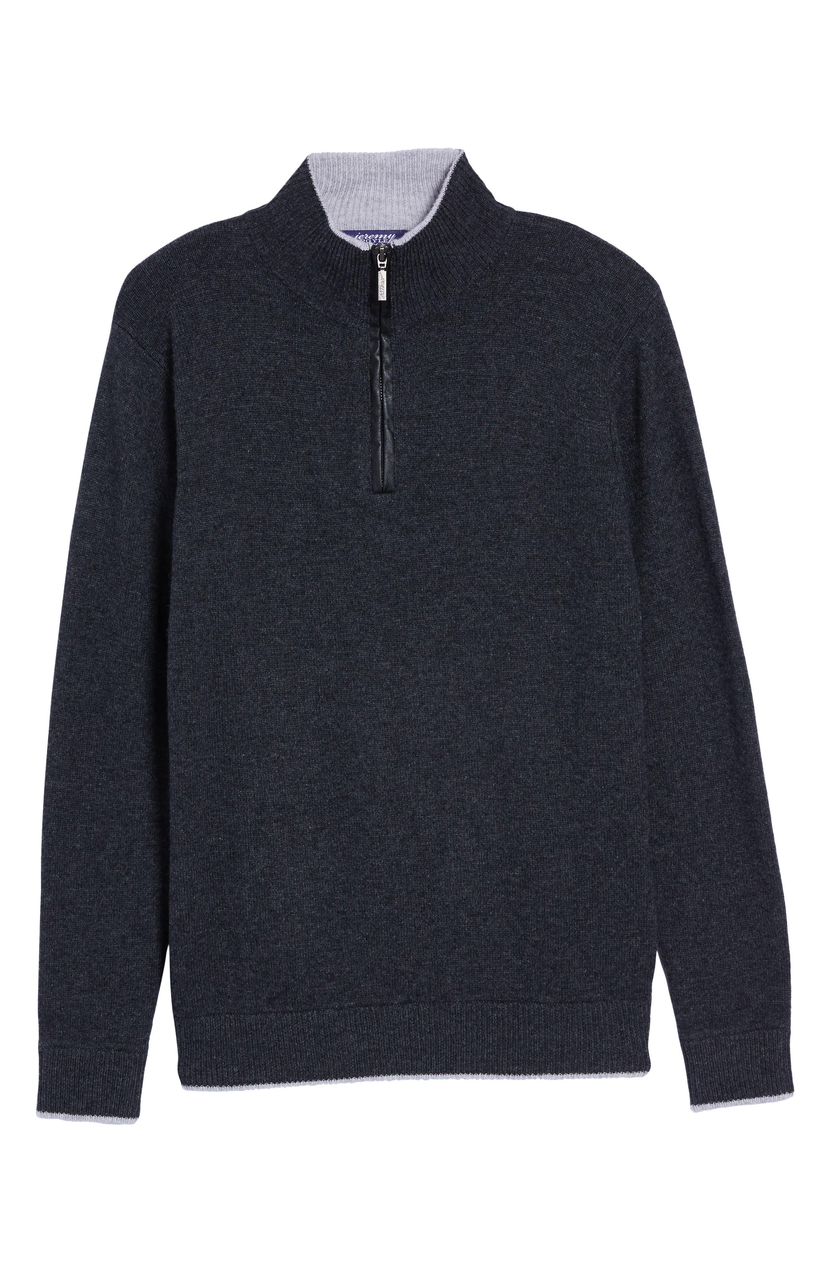 Wool Blend Quarter Zip Sweater,                             Alternate thumbnail 6, color,                             Dark Grey