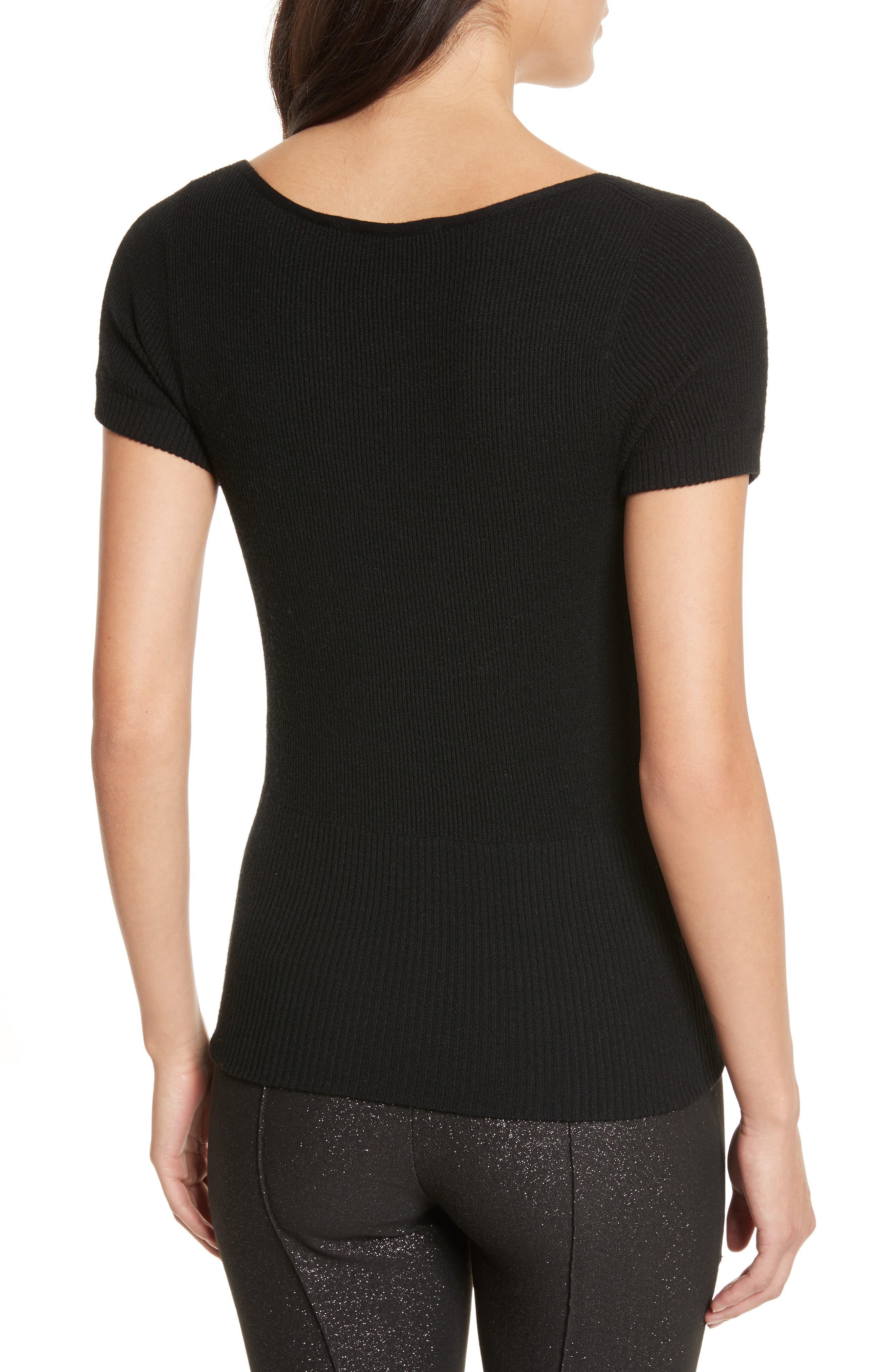 Décolletage Sweater,                             Alternate thumbnail 2, color,                             Black