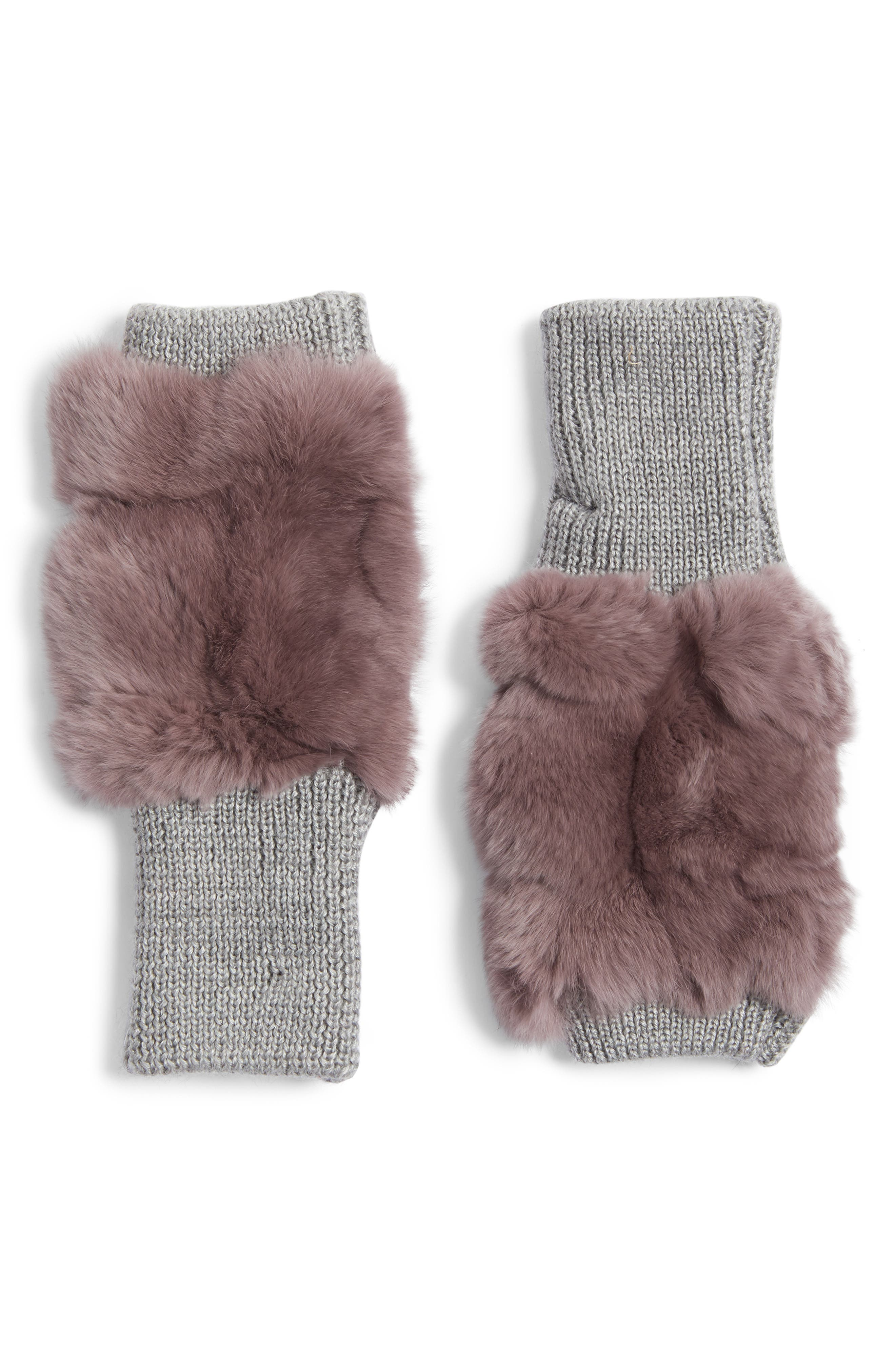 Genuine Rabbit Fur Fingerless Knit Mittens,                         Main,                         color, Dusty Lavender