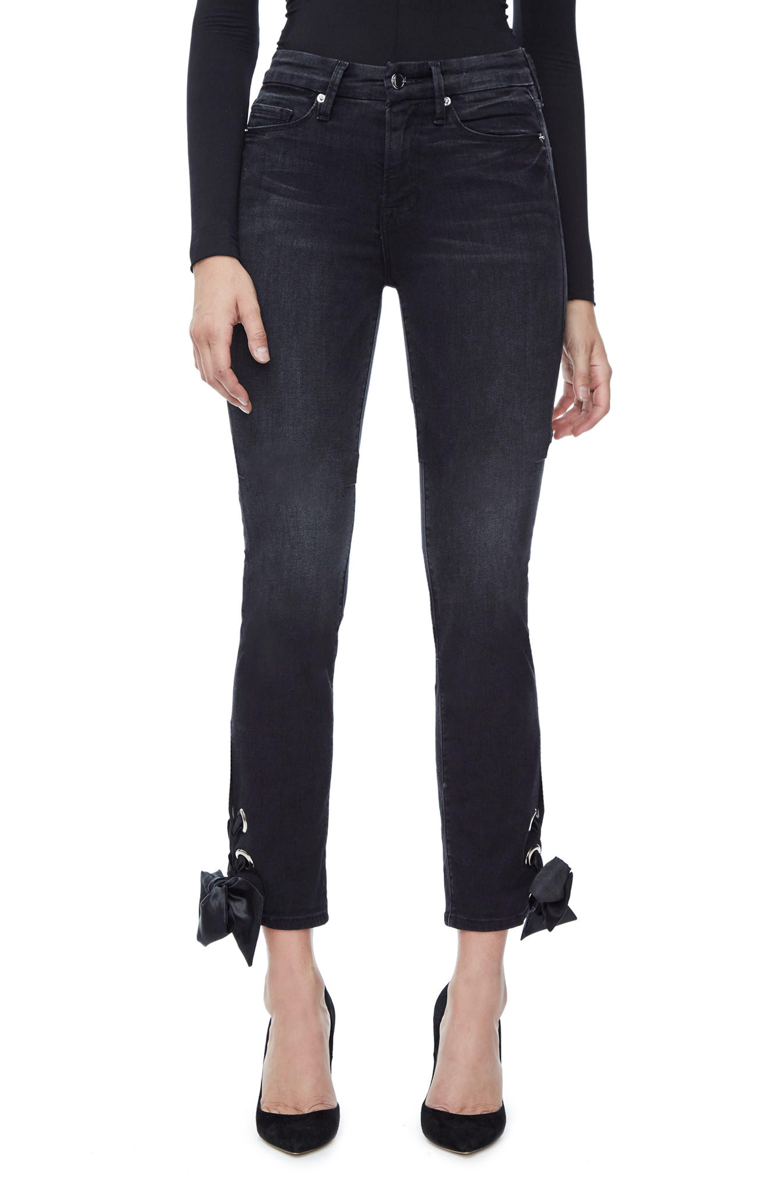 Alternate Image 1 Selected - Good American Good Straight Ankle Lace Skinny Jeans (Black 010) (Extended Sizes)