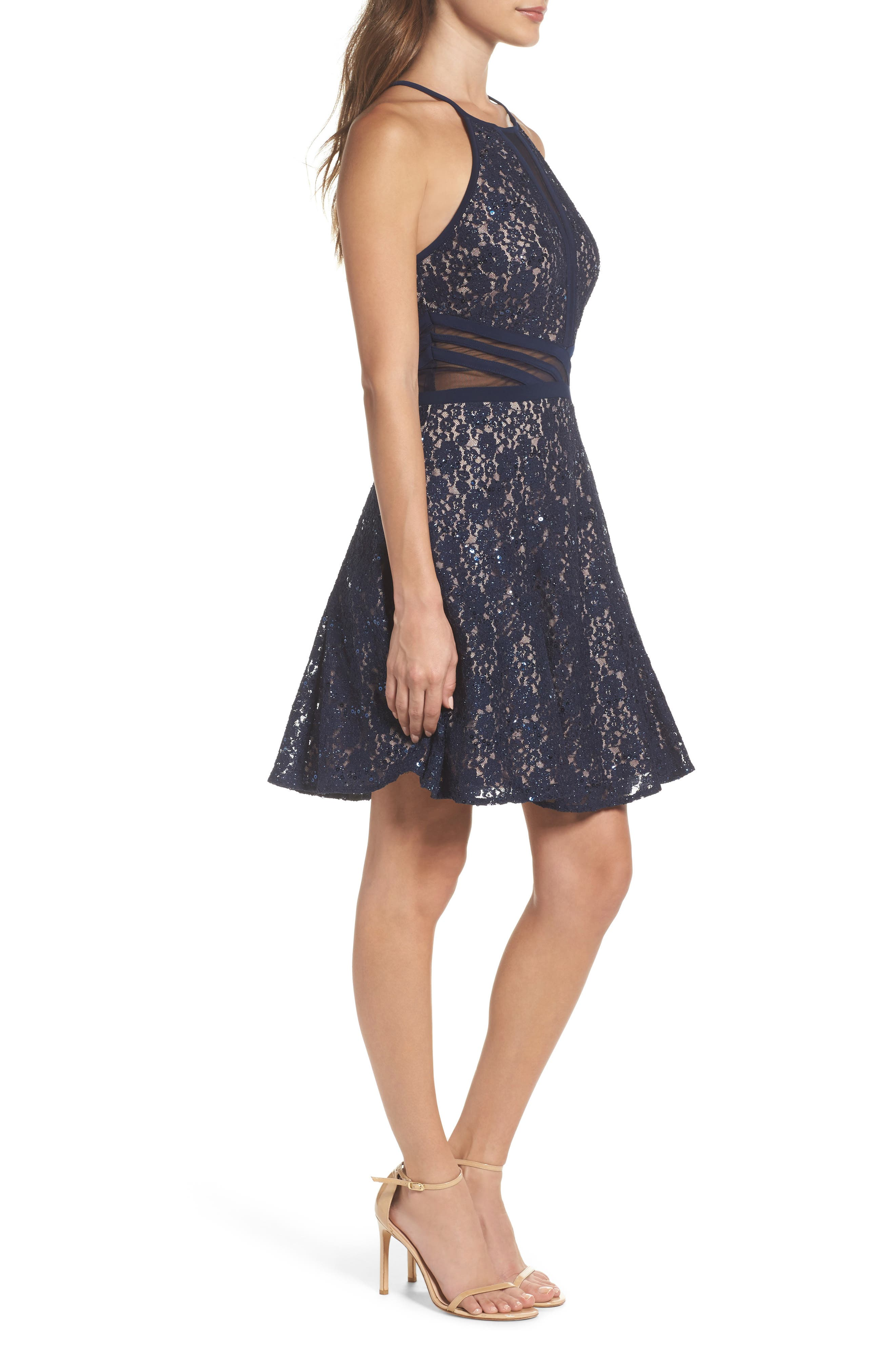 Alternate Image 3  - Morgan & Co. Sheer Inset Lace Fit & Flare Dress