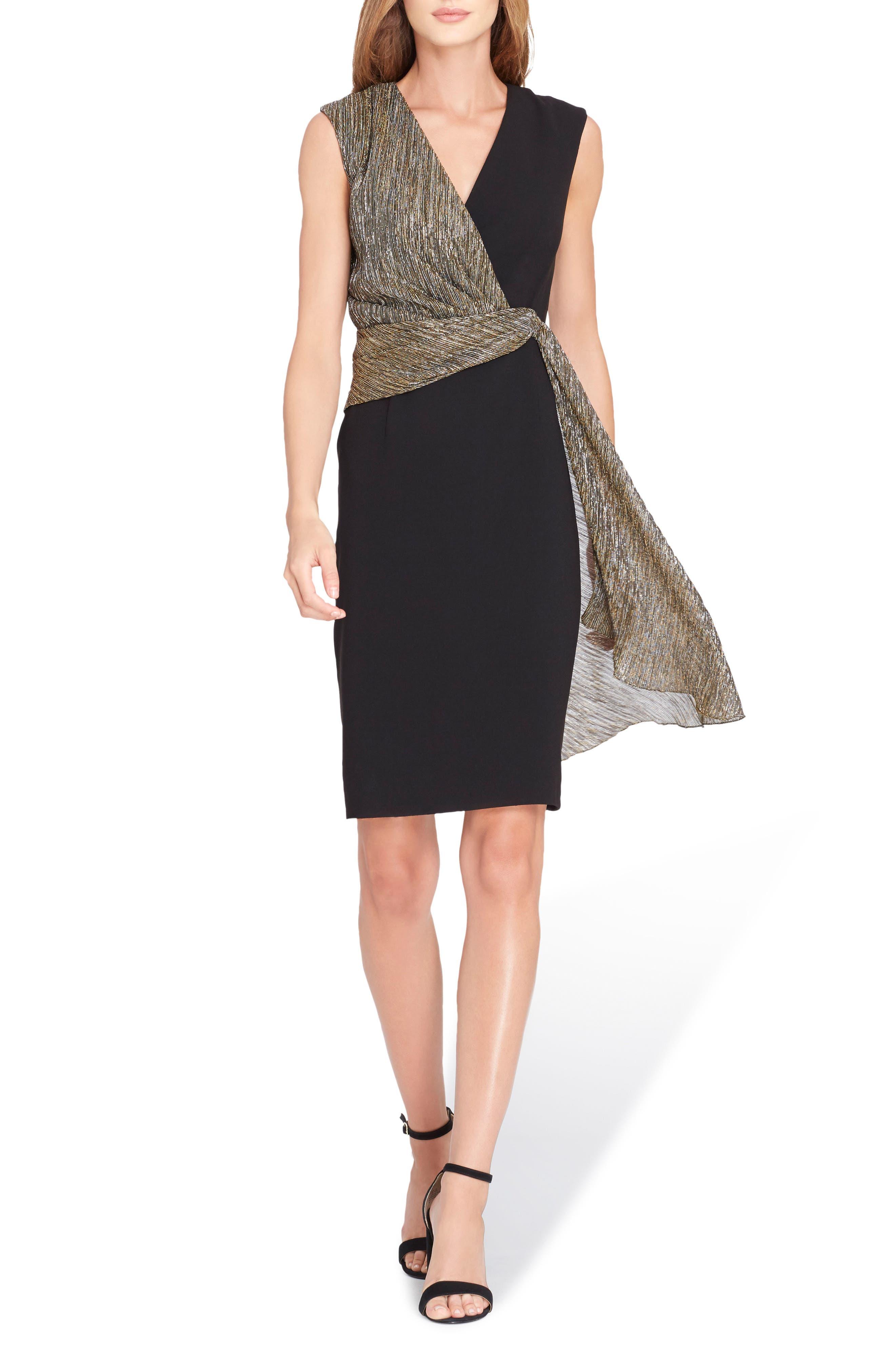 Sleeveless Wrap Detail Sheath Dress,                             Main thumbnail 1, color,                             Black/ Gold