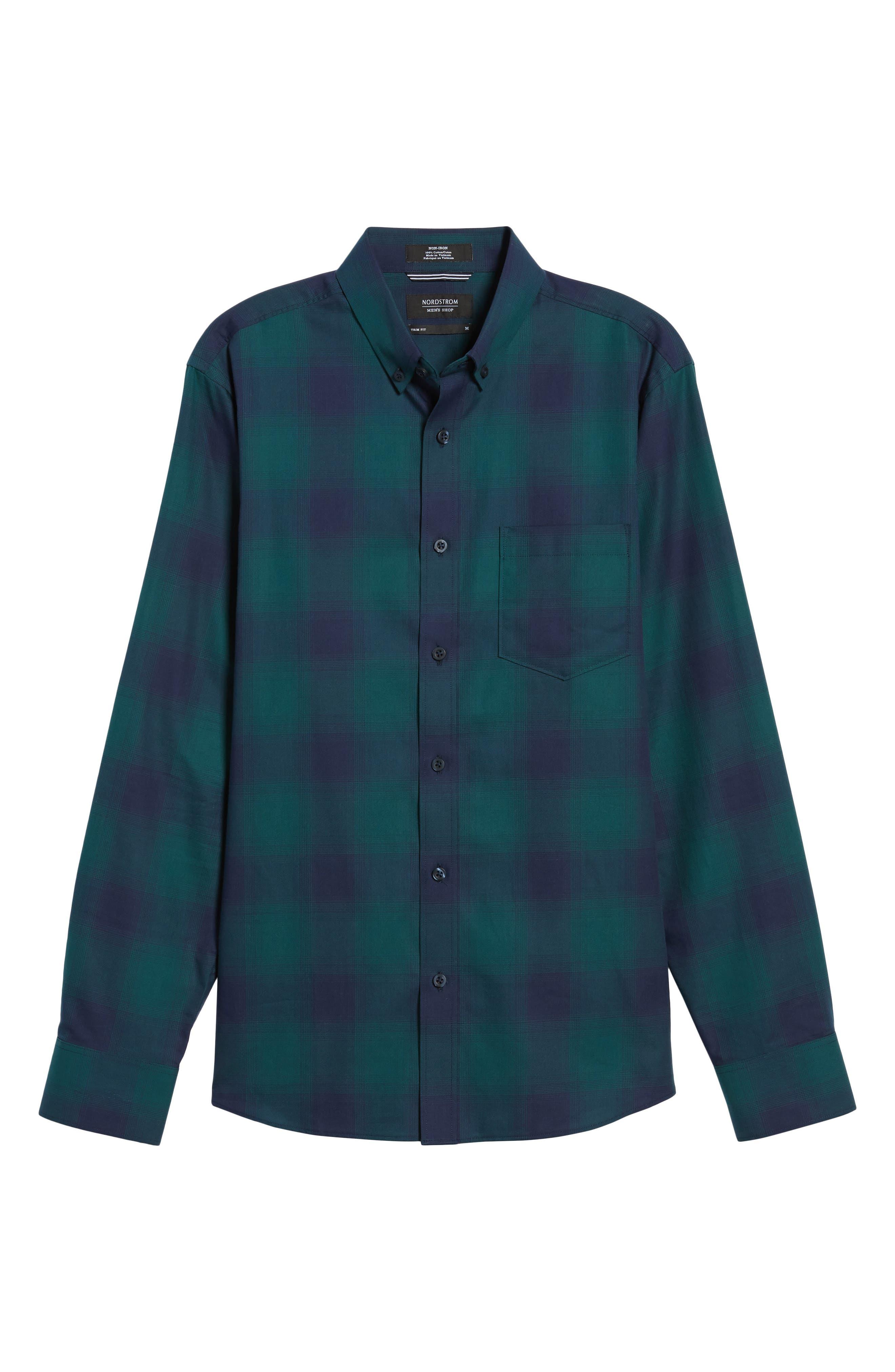 Slim Fit Check Sport Shirt,                             Alternate thumbnail 6, color,                             Green Bug Ombre Plaid