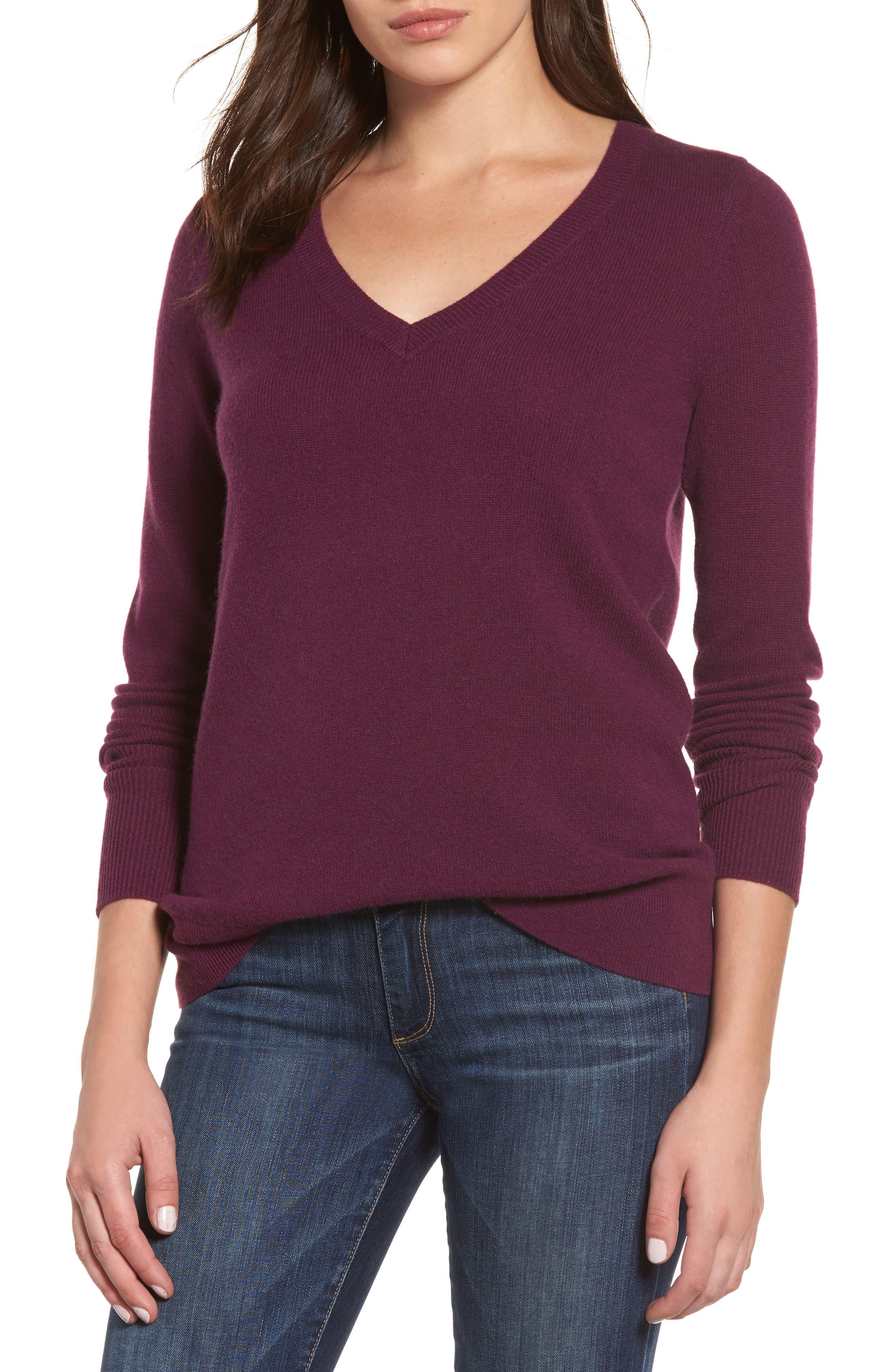 Alternate Image 1 Selected - Halogen® V-Neck Cashmere Sweater (Regular & Petite)