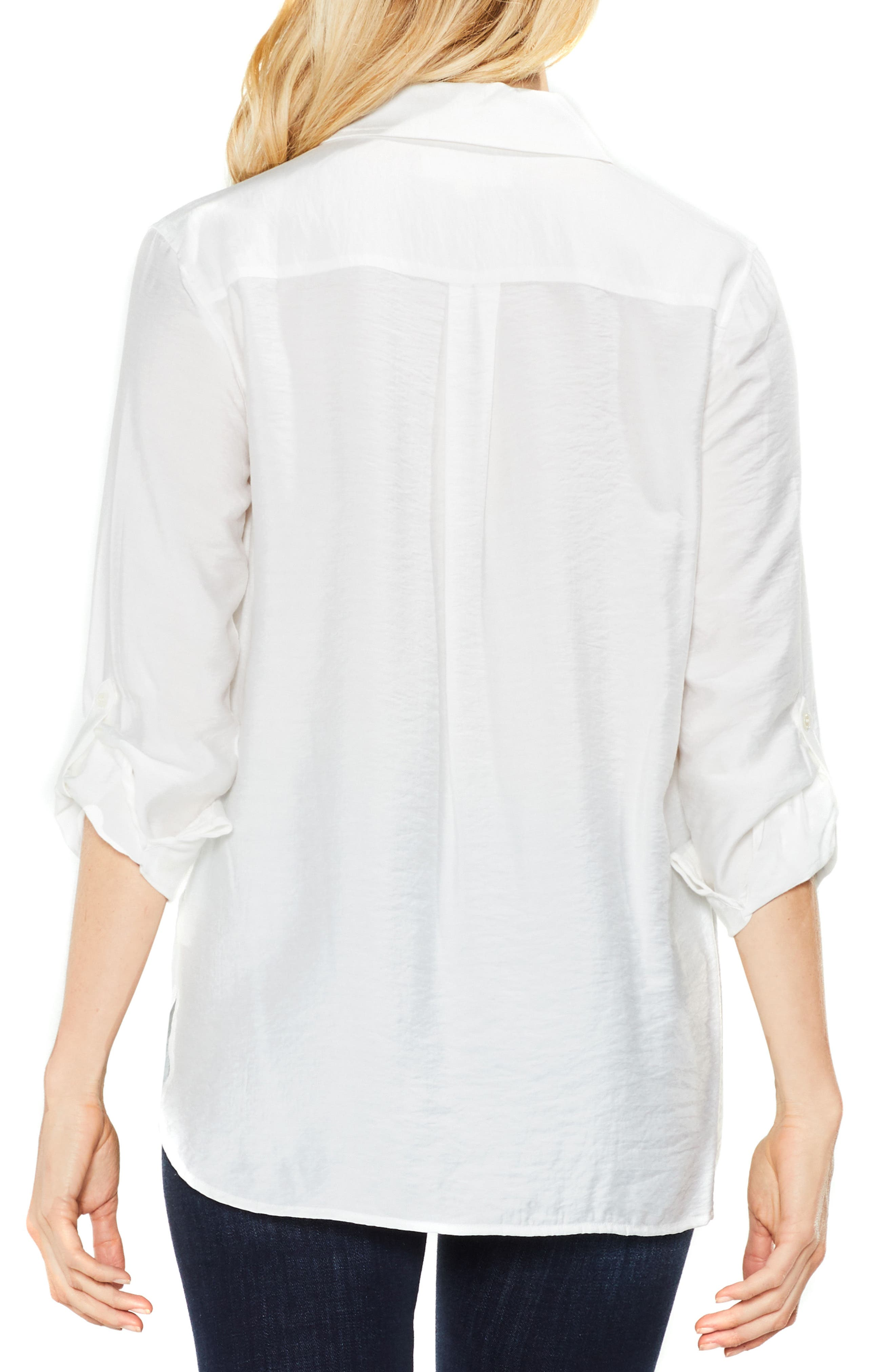 Alternate Image 3  - Two by Vince Camuto Hammered Satin Utility Shirt (Regular & Petite)