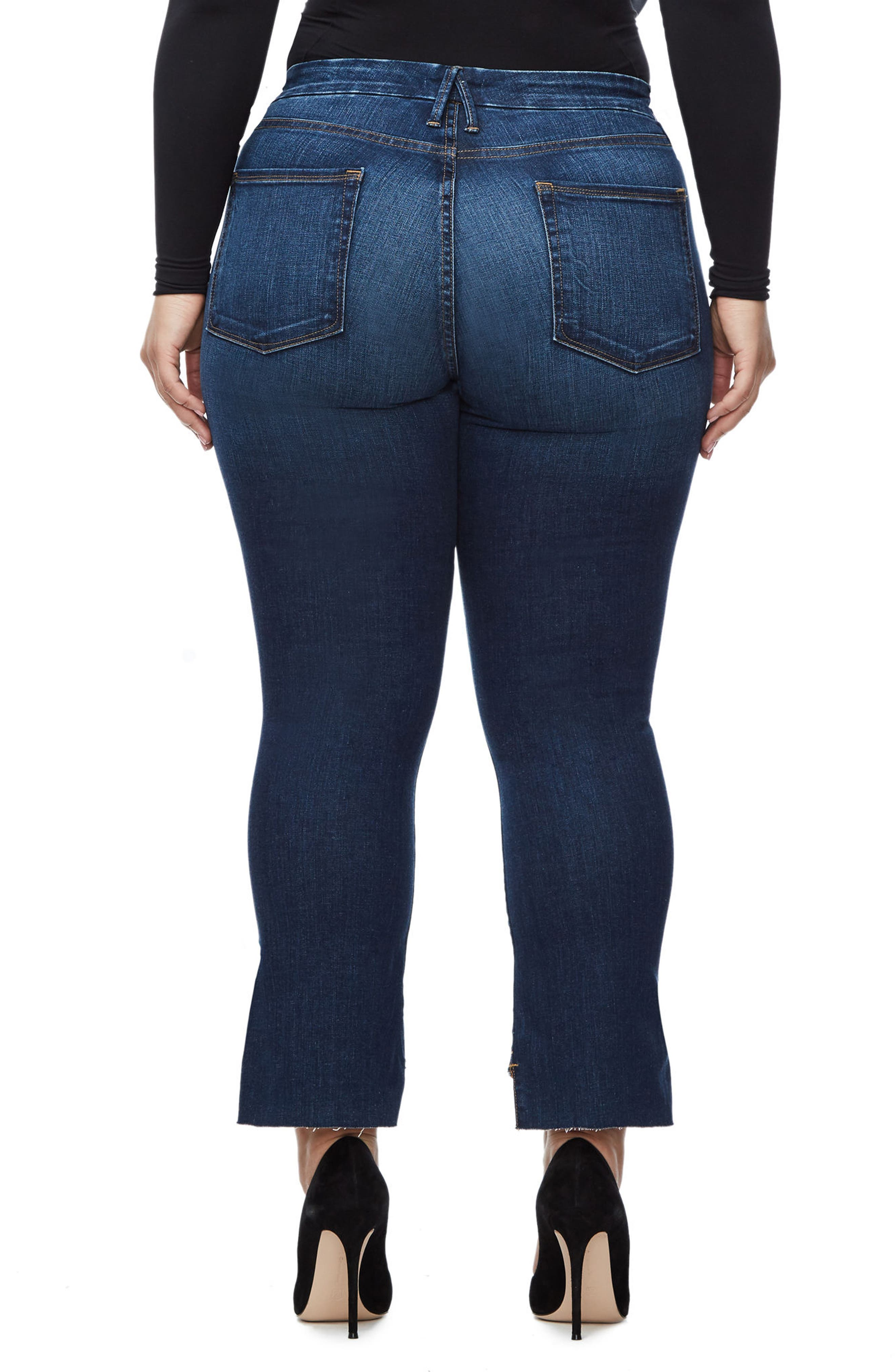 Alternate Image 5  - Good American Good Boot Crop Step Hem Bootcut Jeans (Blue 091) (Extended Sizes)
