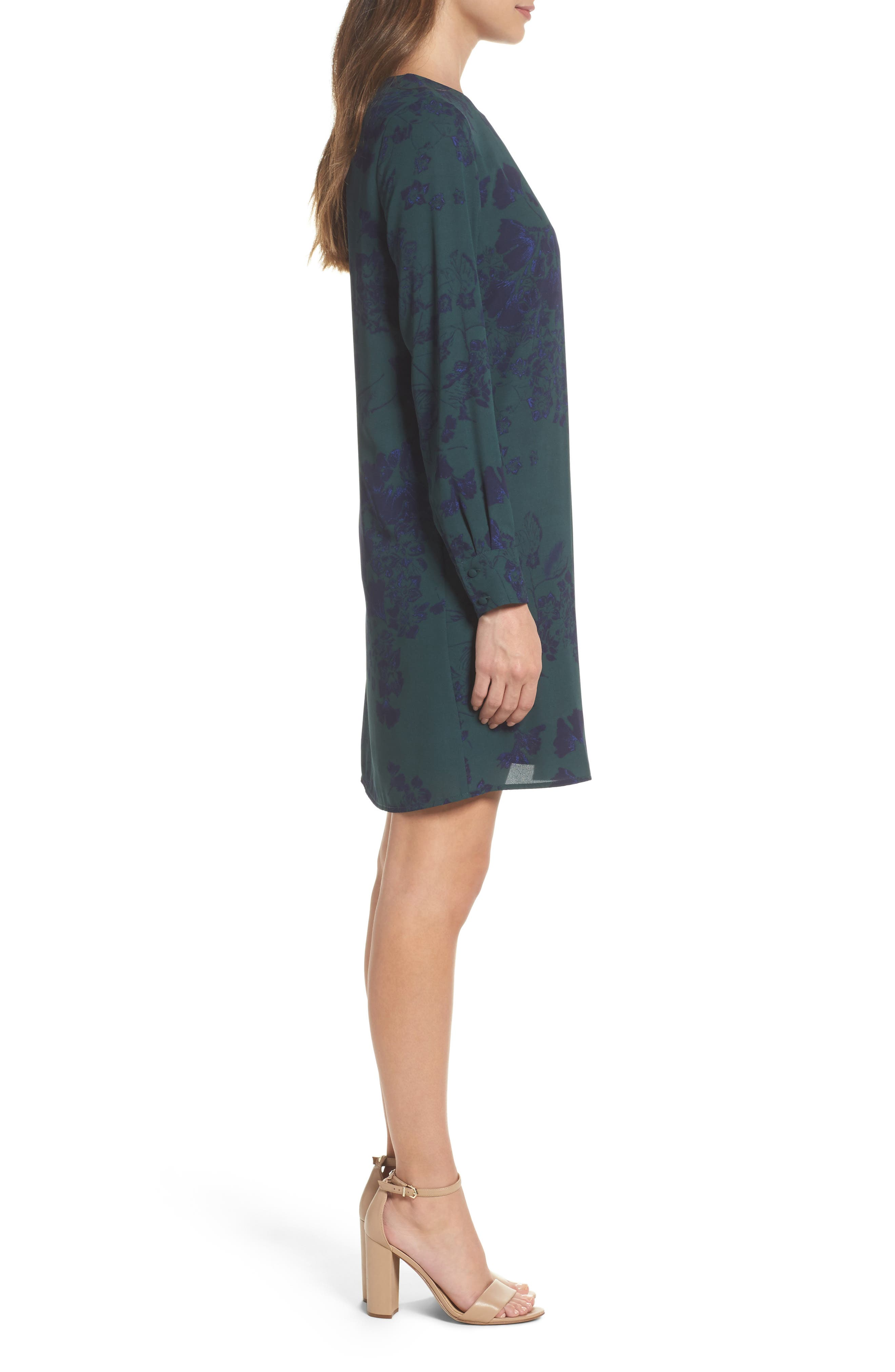 Crossover Shift Dress,                             Alternate thumbnail 3, color,                             Green Fall Floral