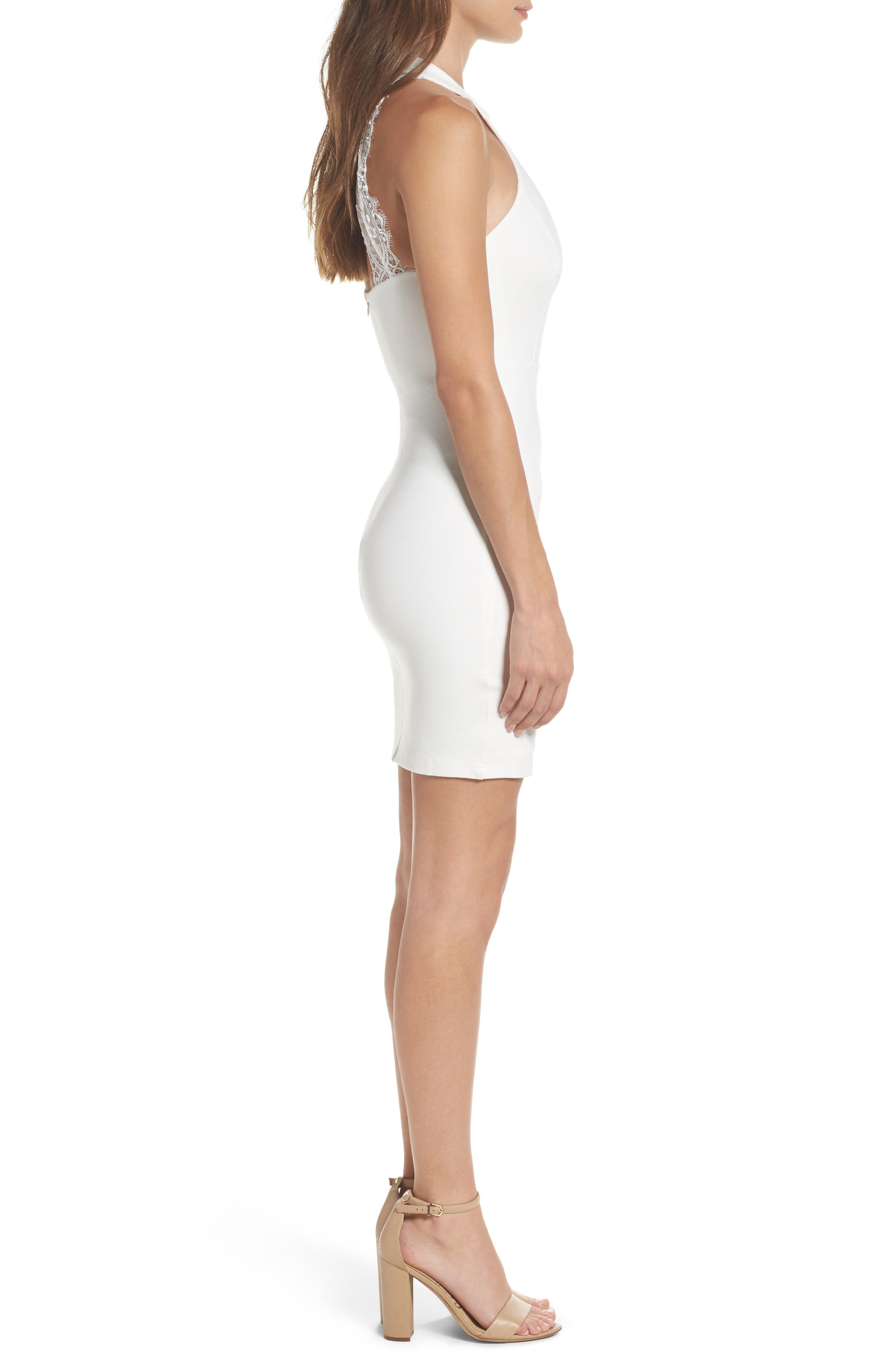 Endlessly Alluring Lace Trim Body Con Dress,                             Alternate thumbnail 3, color,                             White