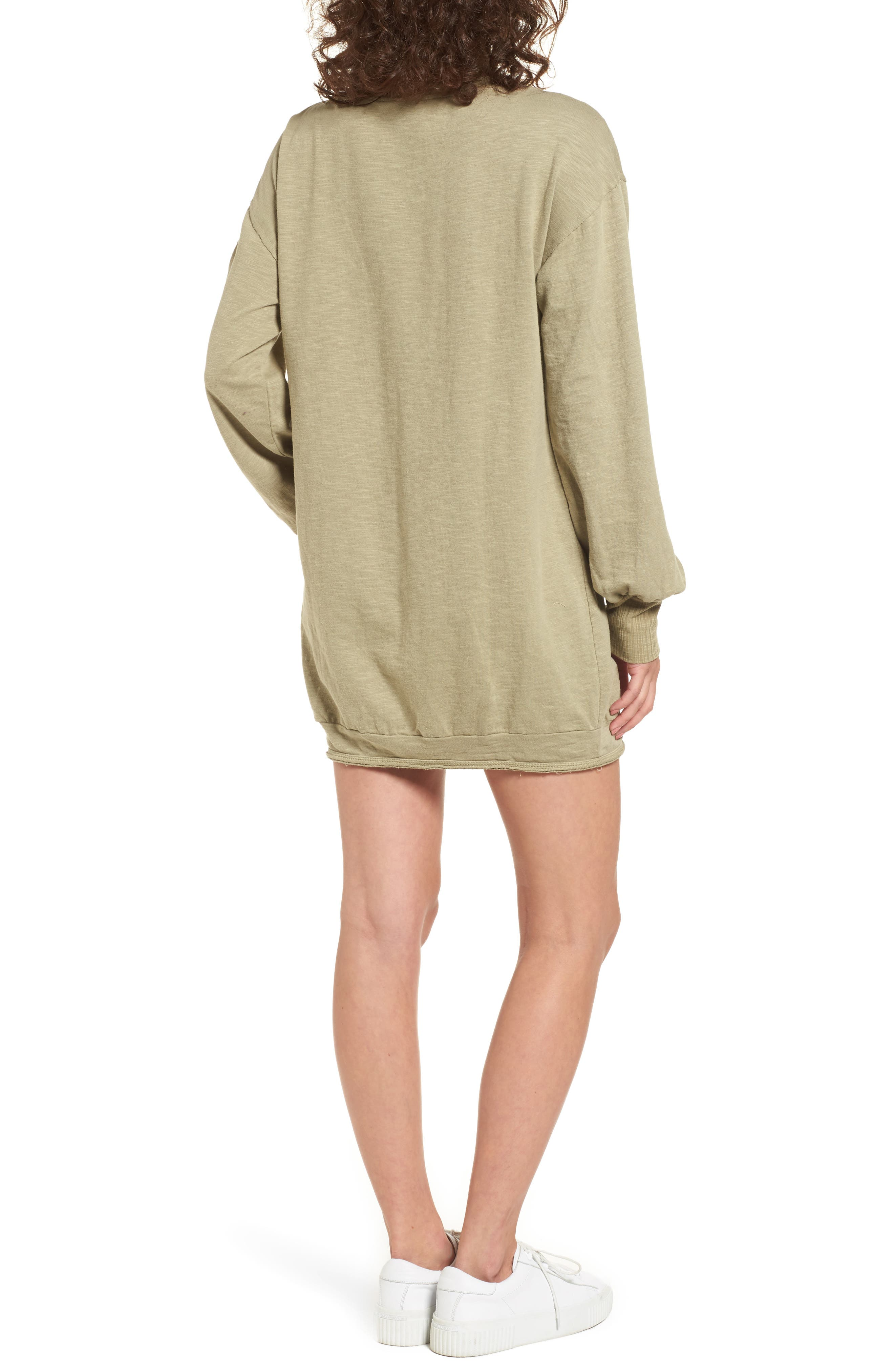 Mountains Fade Sweatshirt Dress,                             Alternate thumbnail 3, color,                             Sage