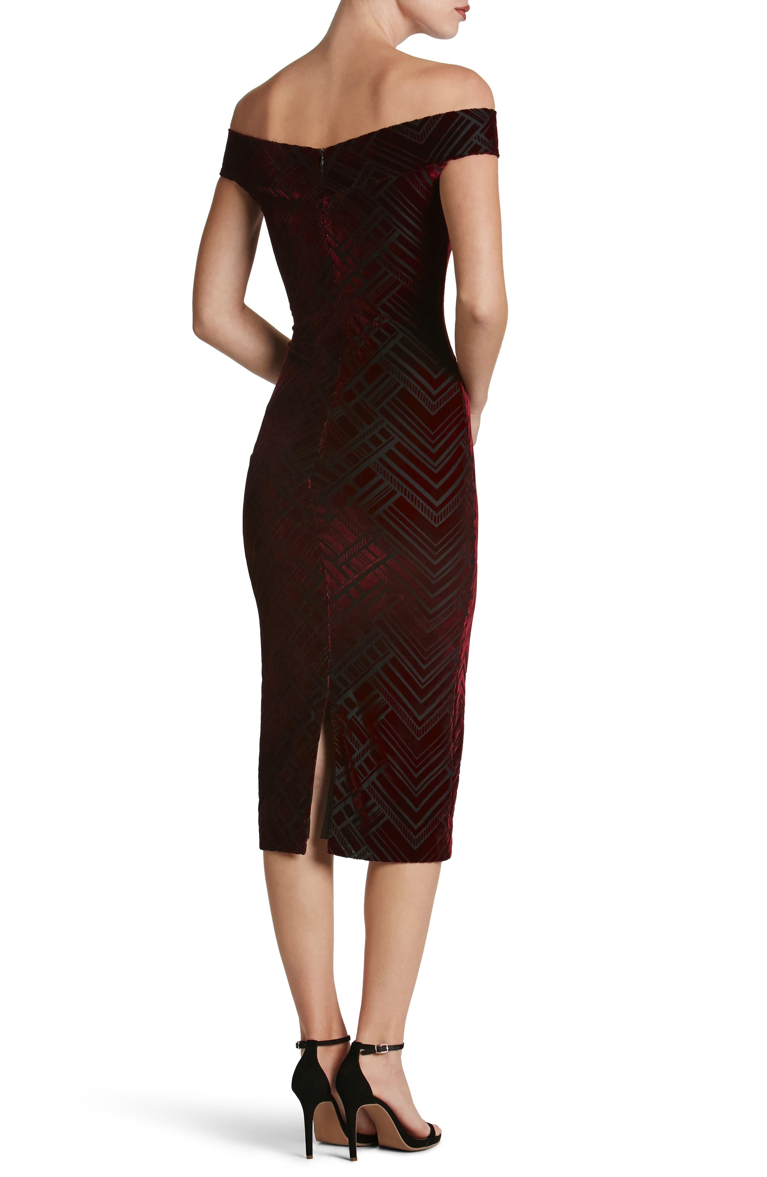 Eden Geo Print Velvet Off the Shoulder Dress,                             Alternate thumbnail 2, color,                             Burgundy/ Black