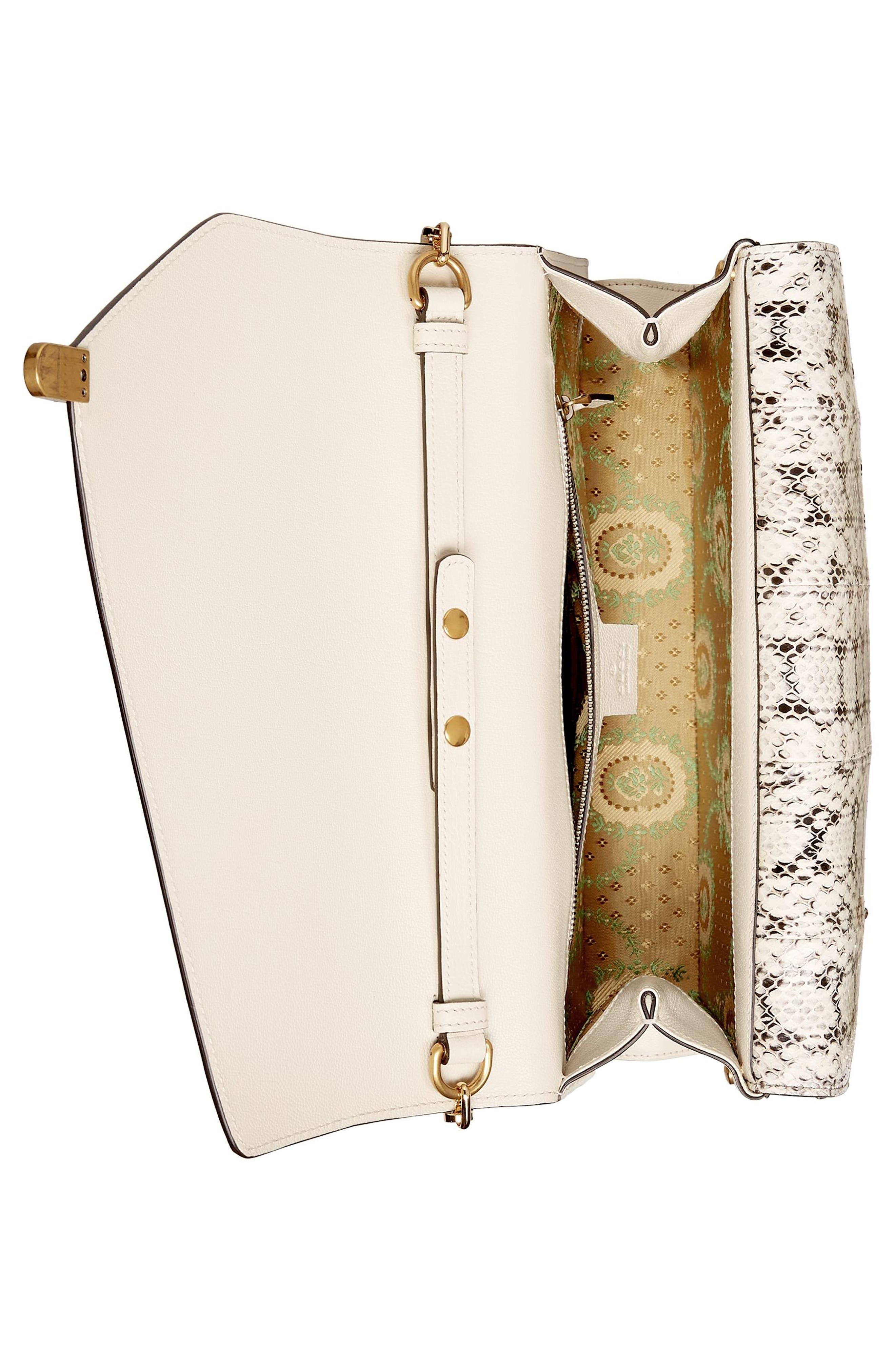 Medium Linea P Butterfly Painted Leather & Genuine Snakeskin Top Handle Satchel,                             Alternate thumbnail 3, color,                             White/ Multi