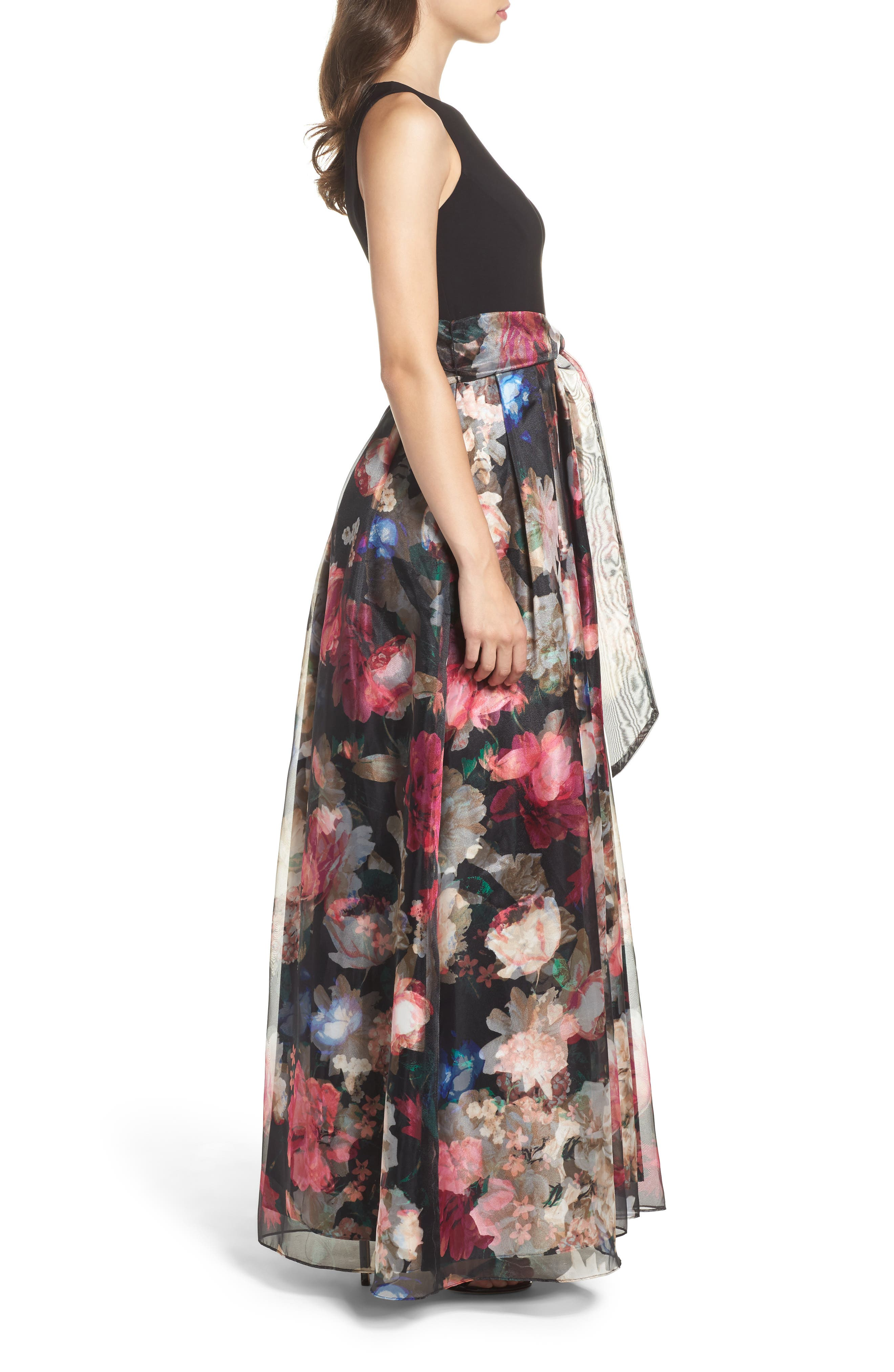 Alternate Image 3  - Eliza J Jersey & Organza Gown