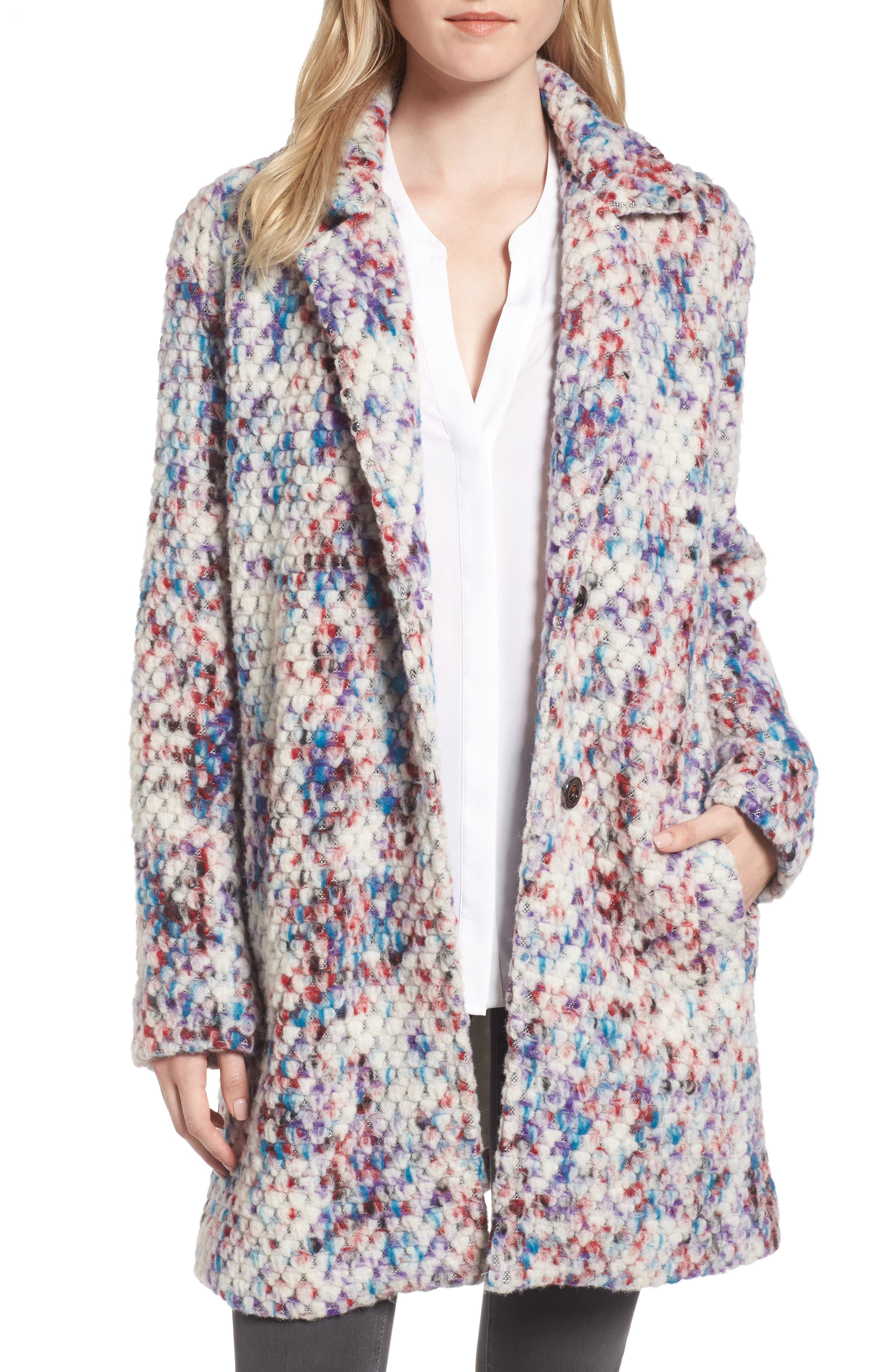 Alternate Image 1 Selected - Steve Madden Confetti Wool Blend Coat