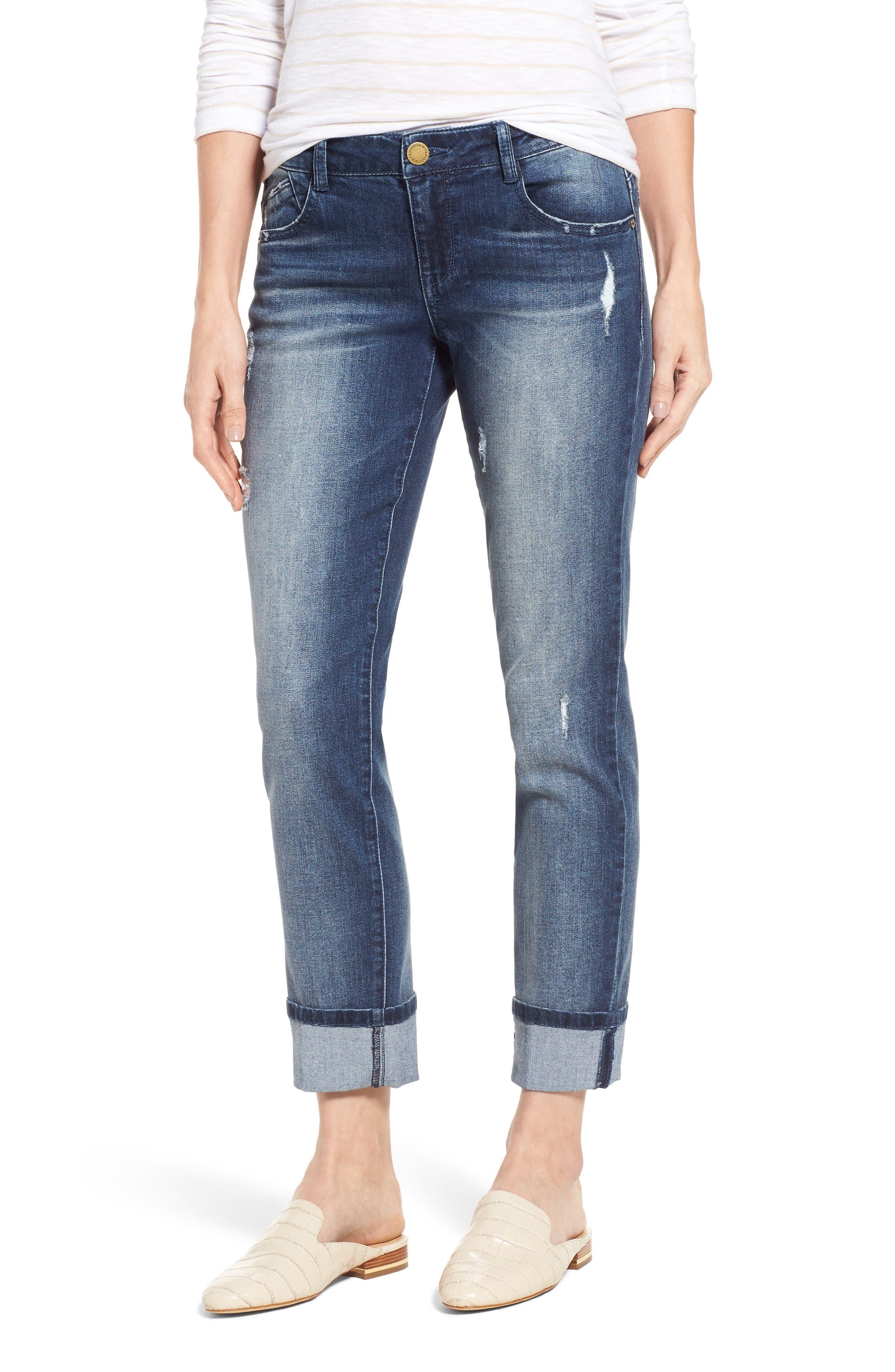 Main Image - Wit & Wisdom Flex-ellent Ripped Boyfriend Jeans (Regular & Petite) (Nordstrom Exclusive)