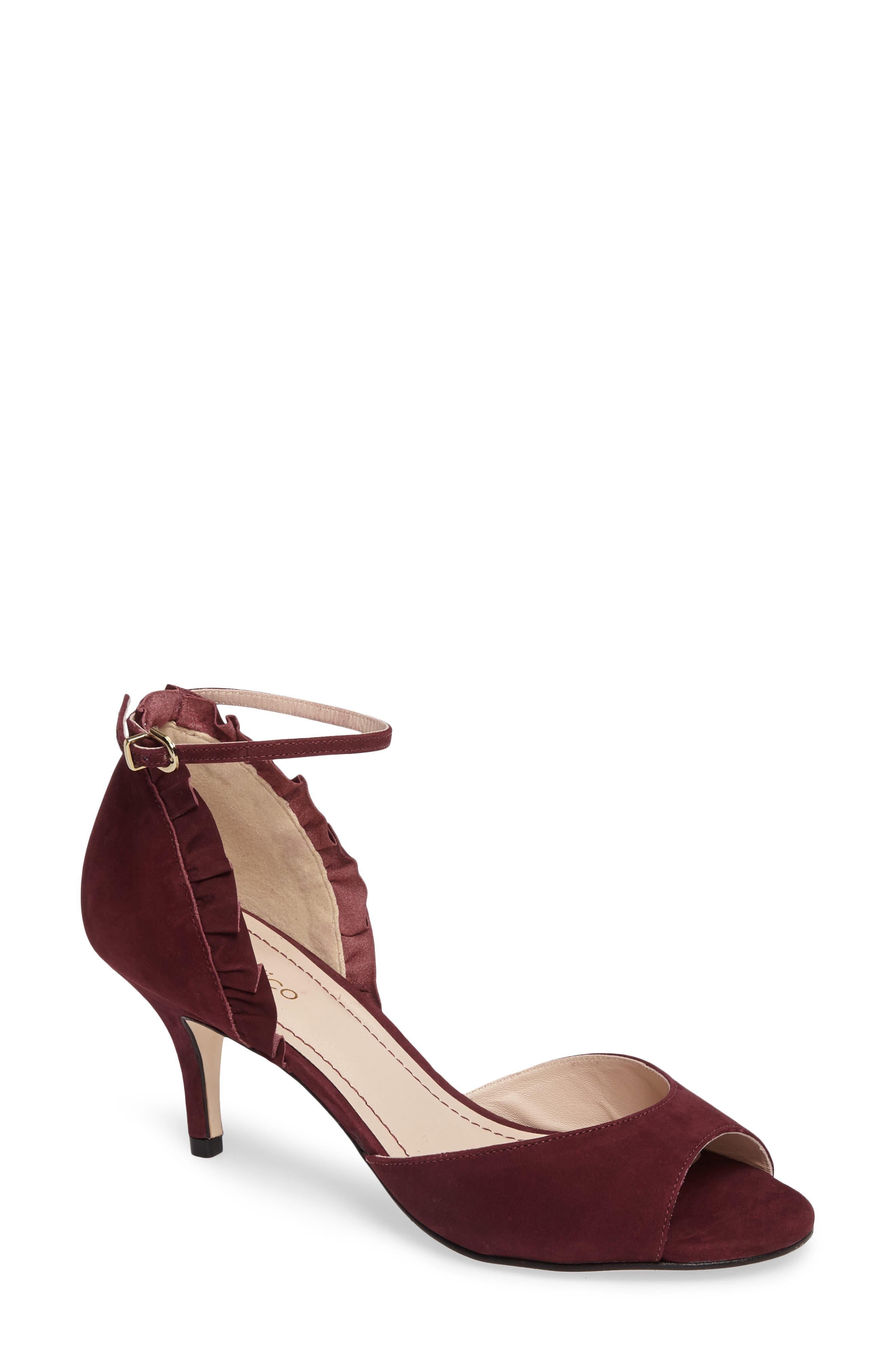 Alisa d'Orsay Sandal,                         Main,                         color, Wine Nubuck Leather