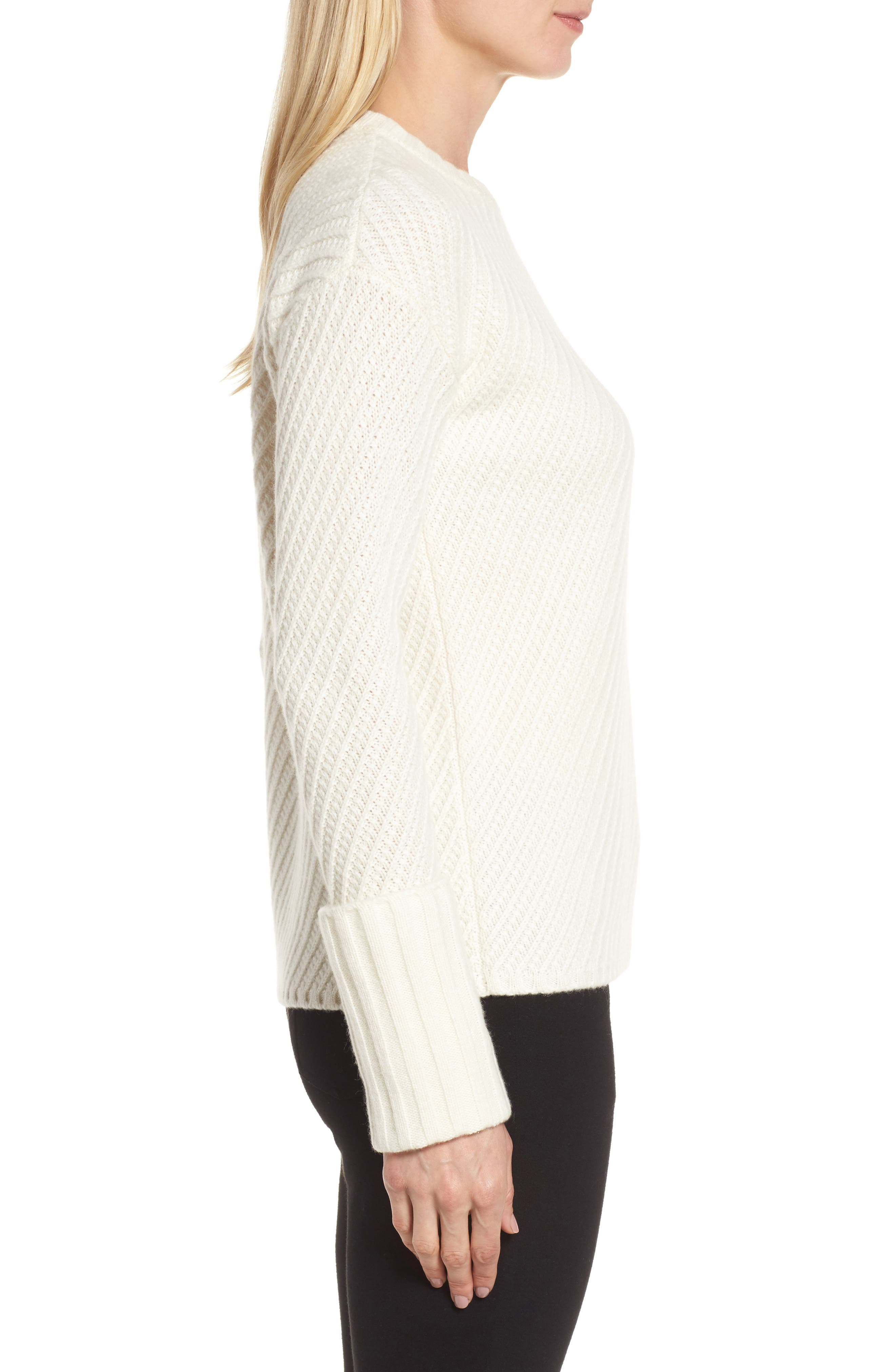 Textured Cashmere Sweater,                             Alternate thumbnail 3, color,                             Ivory Soft