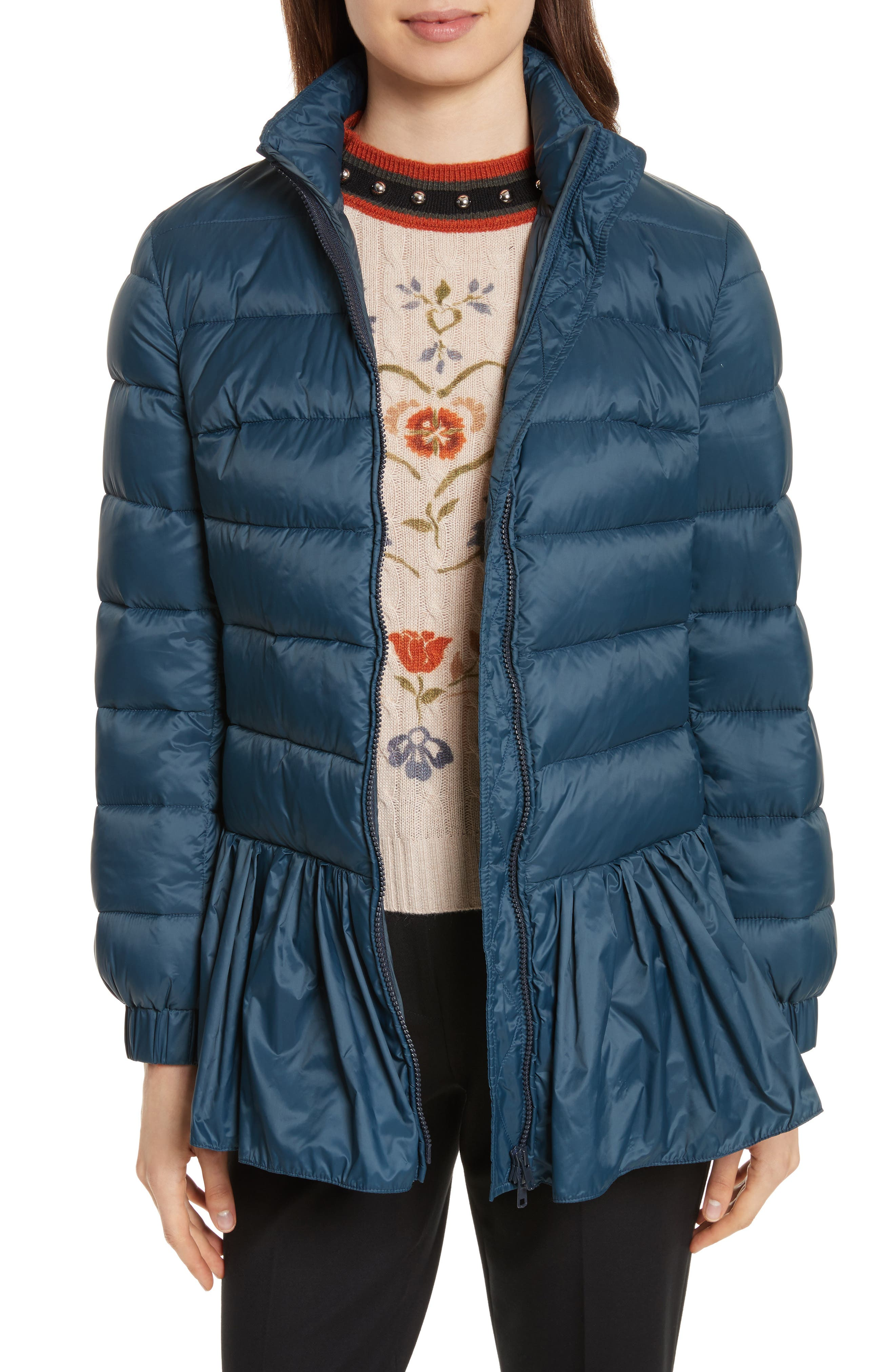 Quilted Peplum Jacket,                         Main,                         color, Oltremare