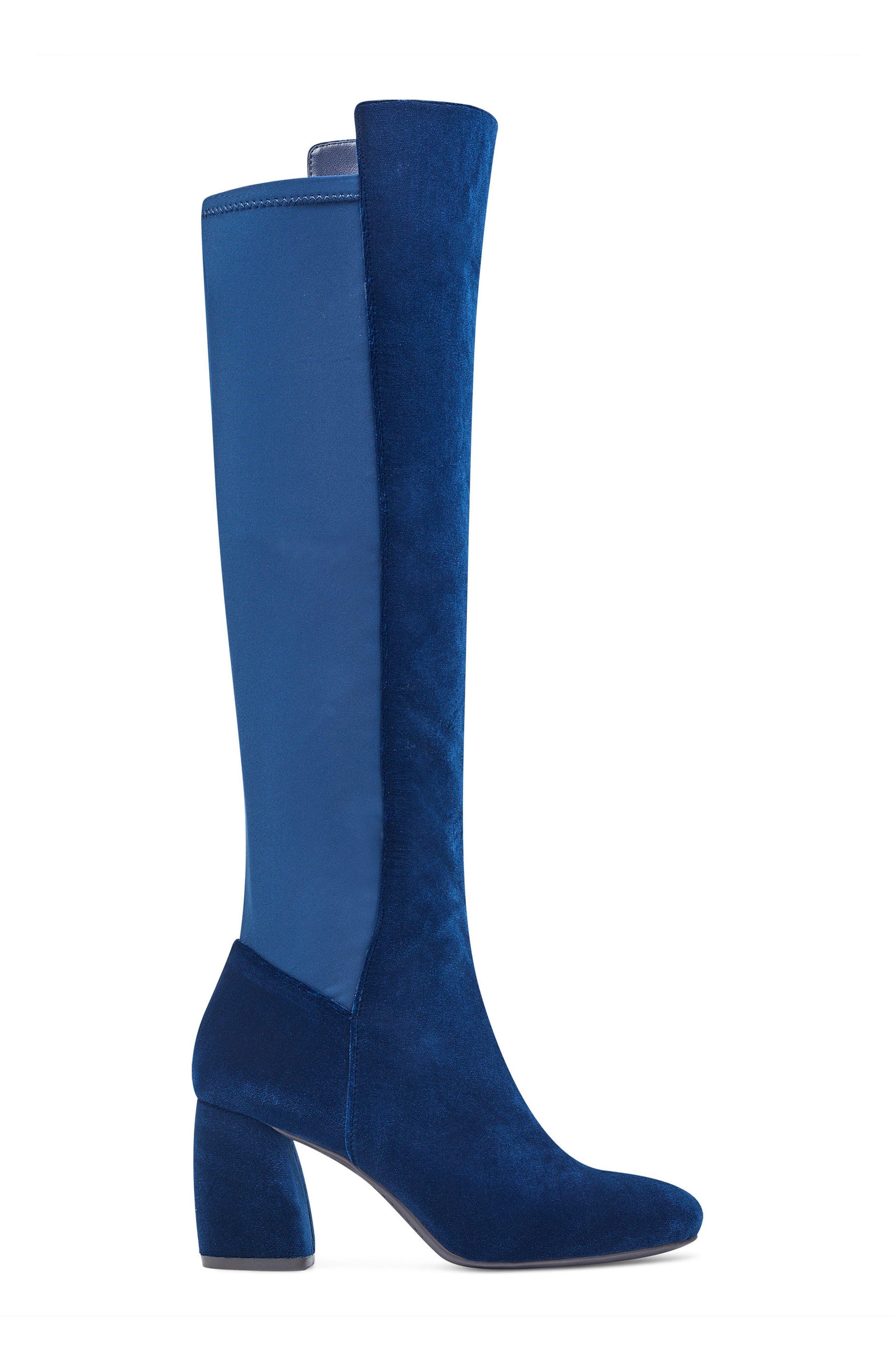 Kerianna Knee High Boot,                             Alternate thumbnail 3, color,                             Navy Fabric