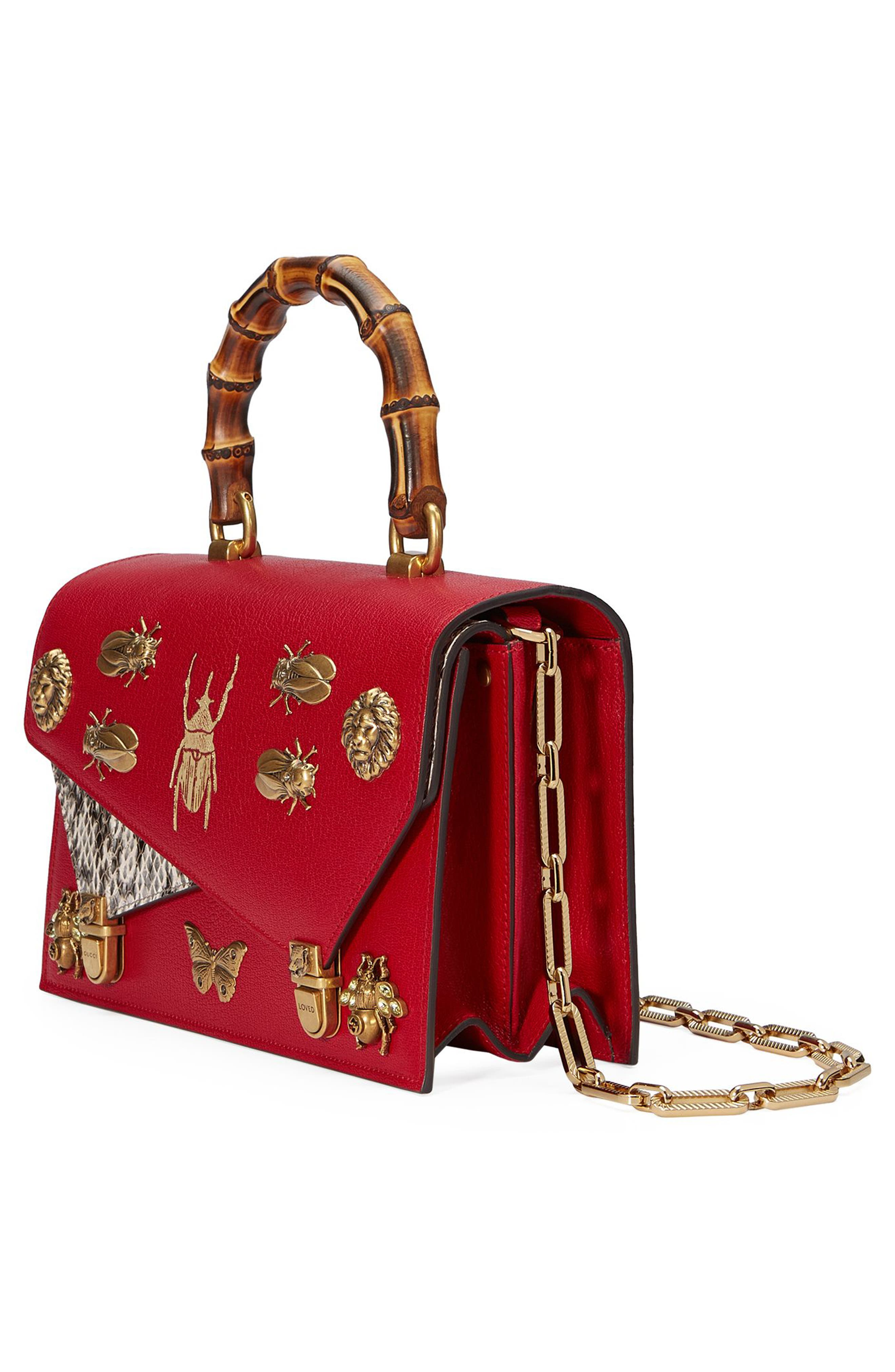Small Linea P Painted Insects Leather Top Handle Satchel,                             Alternate thumbnail 5, color,                             Rosso