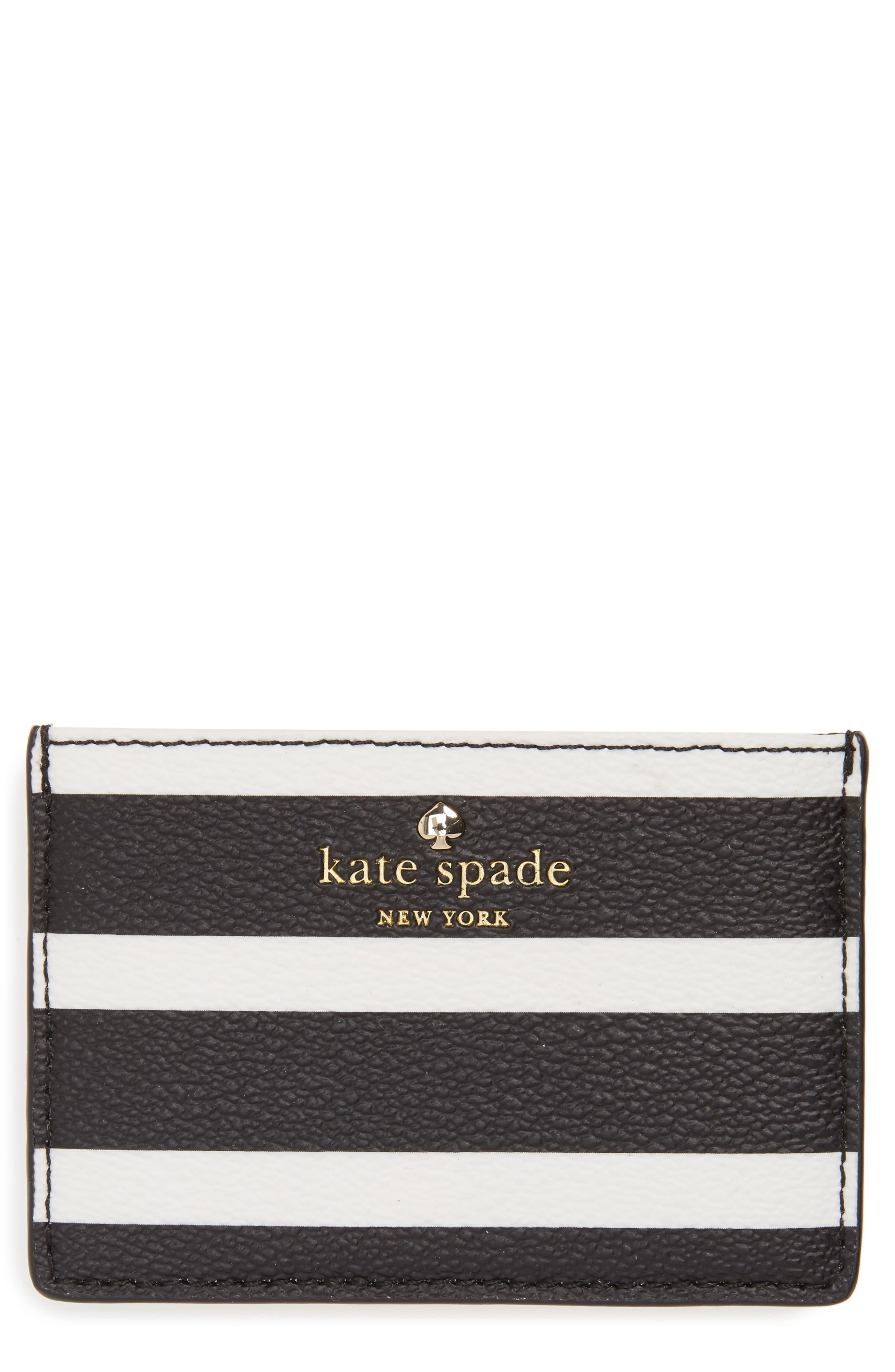 hyde lane stripe card case,                             Main thumbnail 1, color,                             Black/ Cream